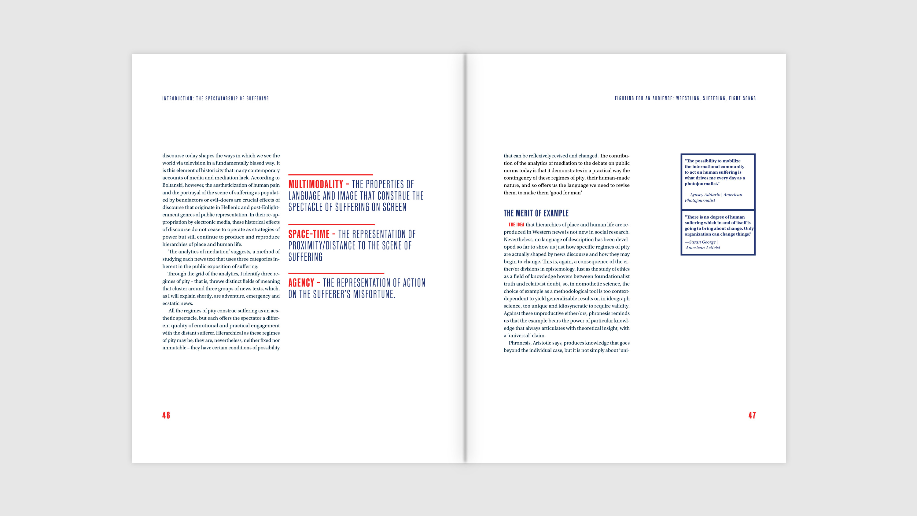 Spread with pullout definitions, body copy, and small quotes