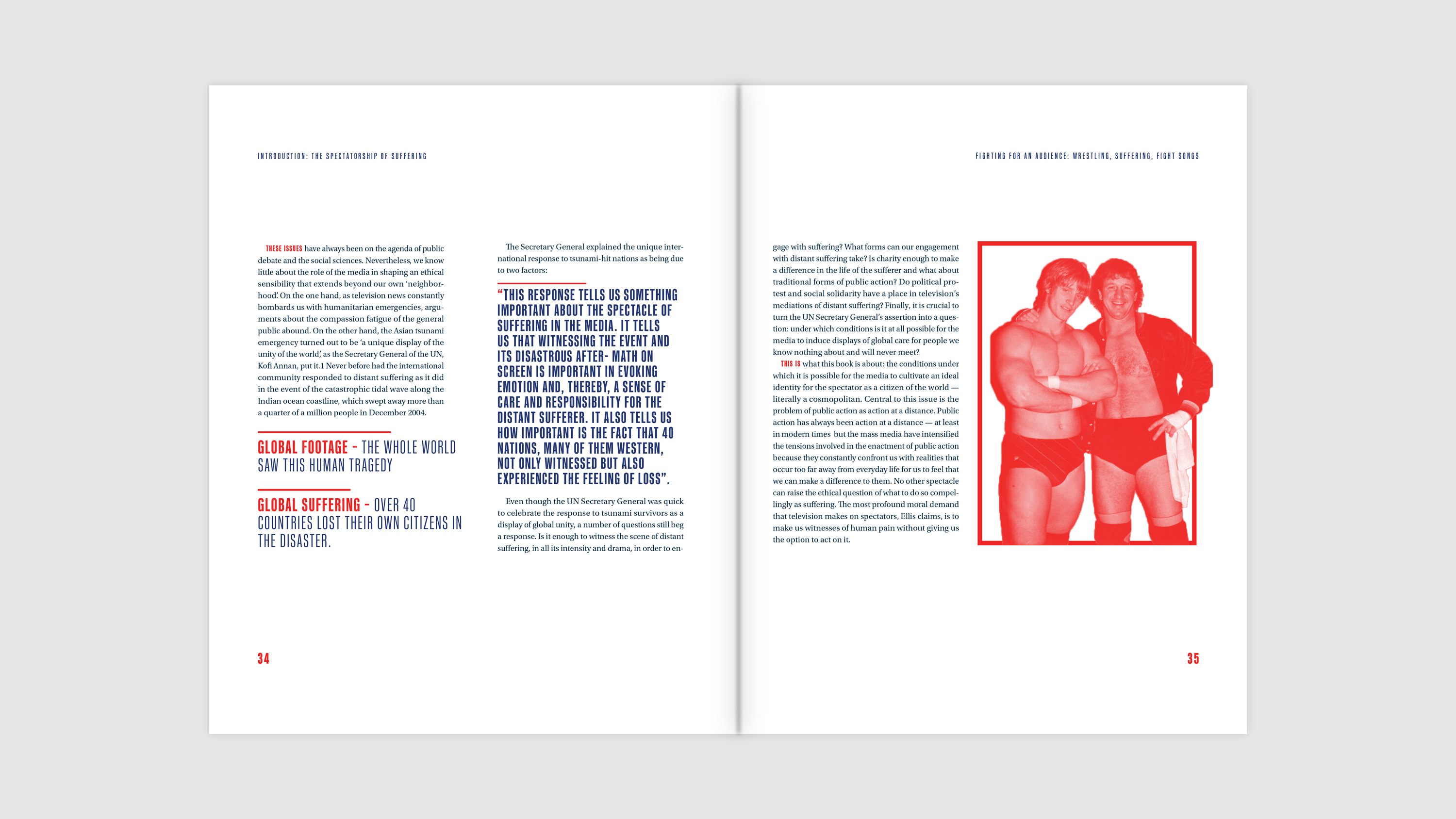 Book spread showing body copy, quotes, pull-out definitions, and imagery