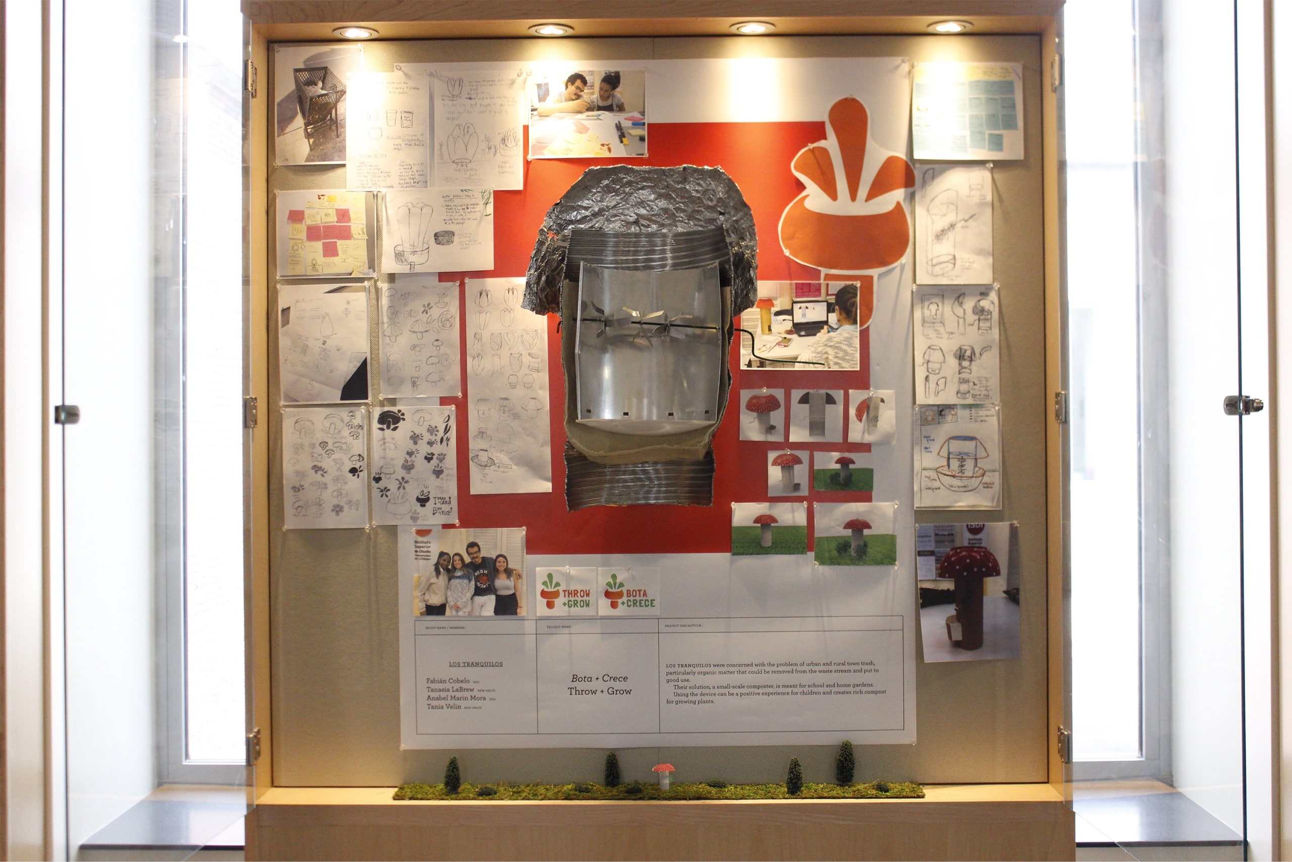 Exhibition window showing the process and cut through model of the Throw + Grow in Sojourner Truth Library, April 2019