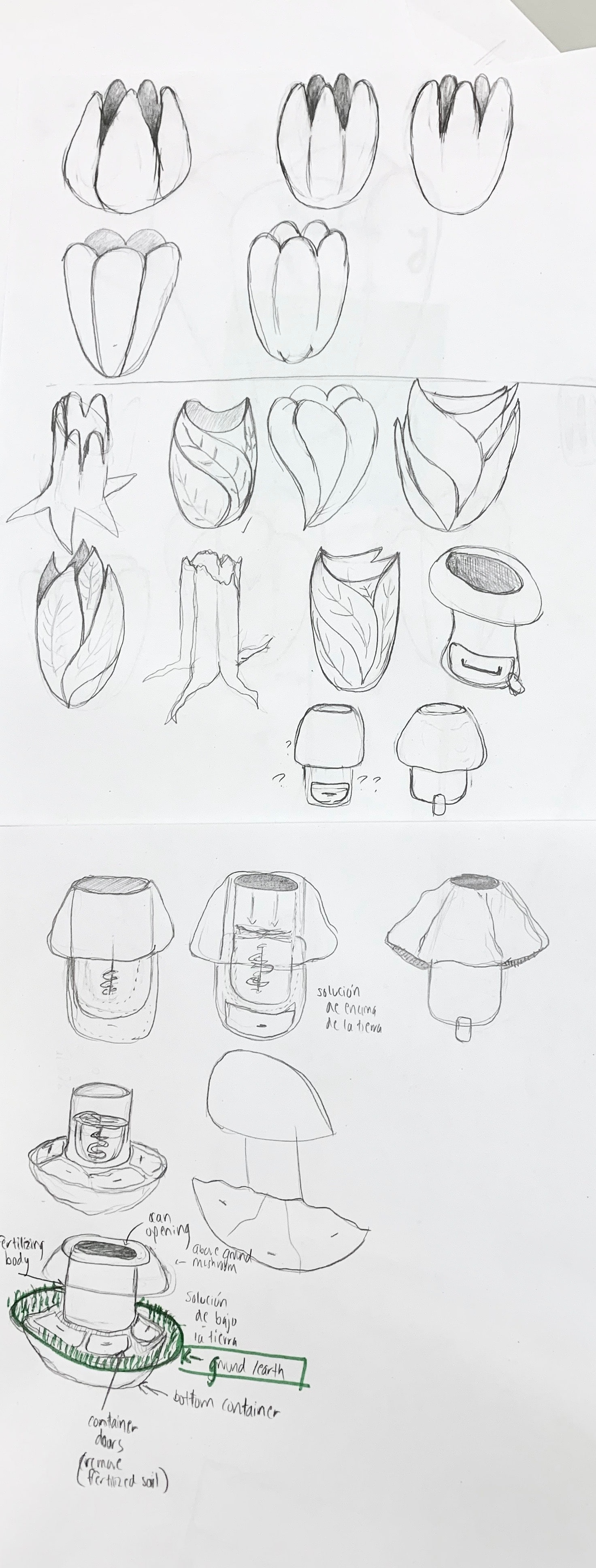Long form sketch of a beautified trash or disposal can, that was then extended to be designed for the purpose of composting
