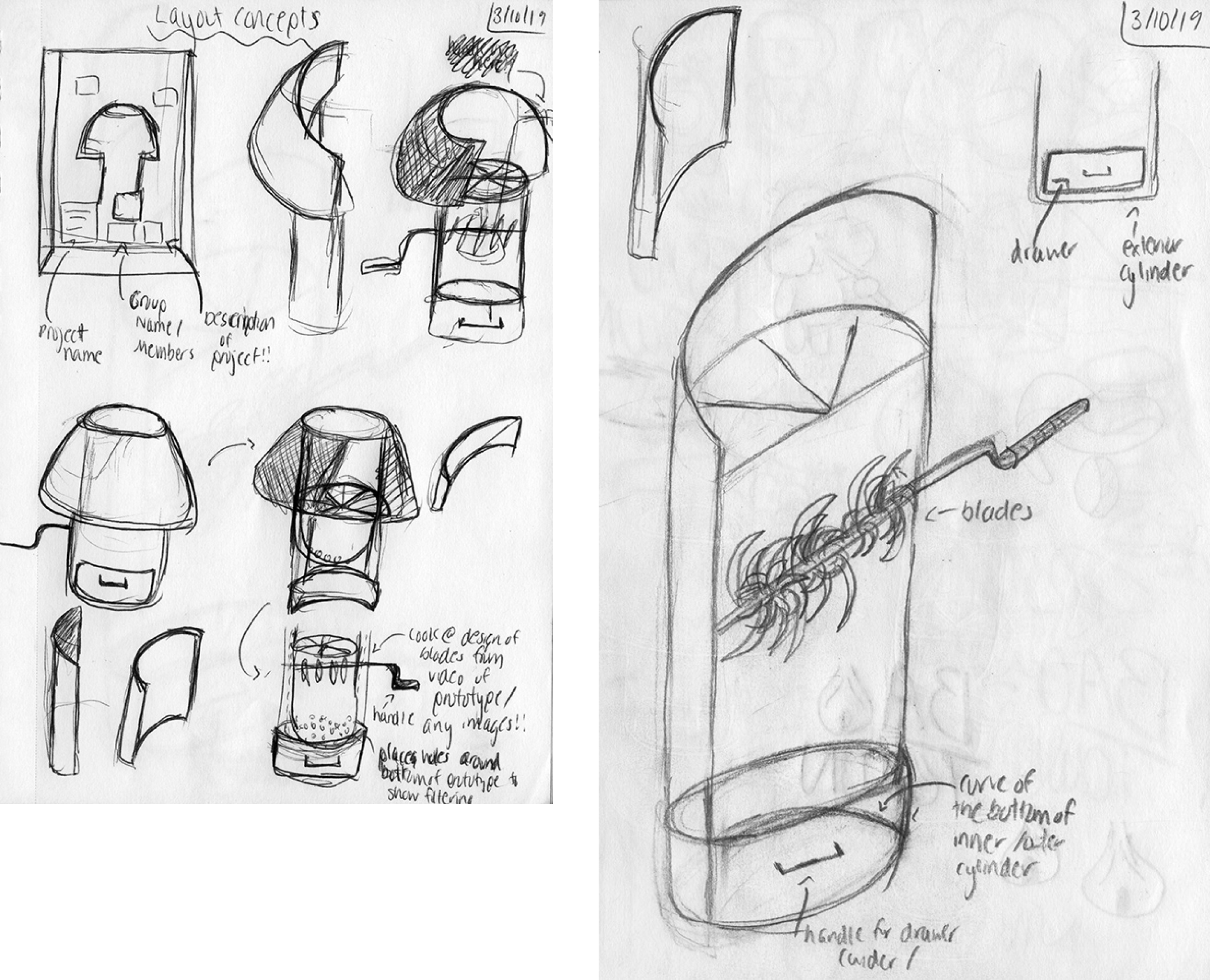 Rough sketches to build exhibition model