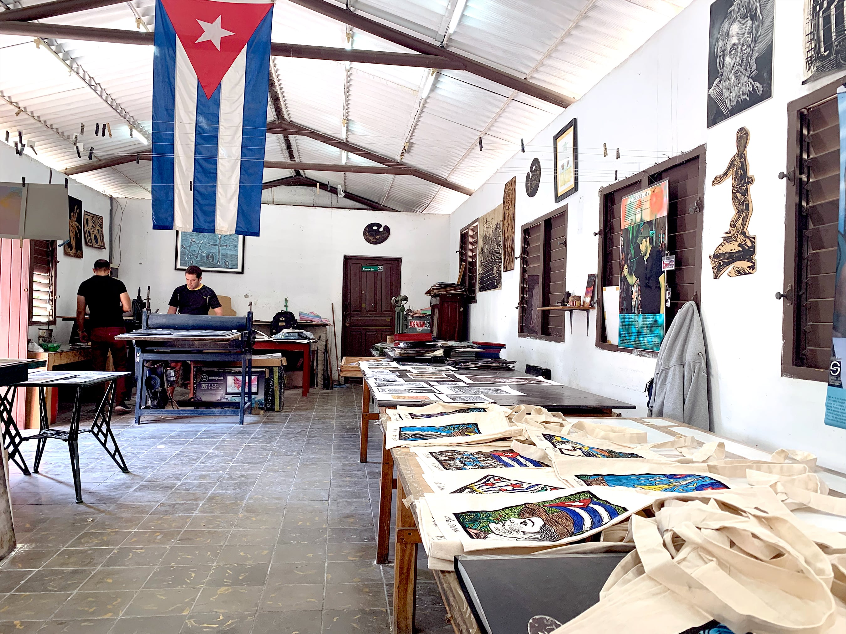 The inside of a woodprint workshop and gallery space space in Cienfuegos, Cuba