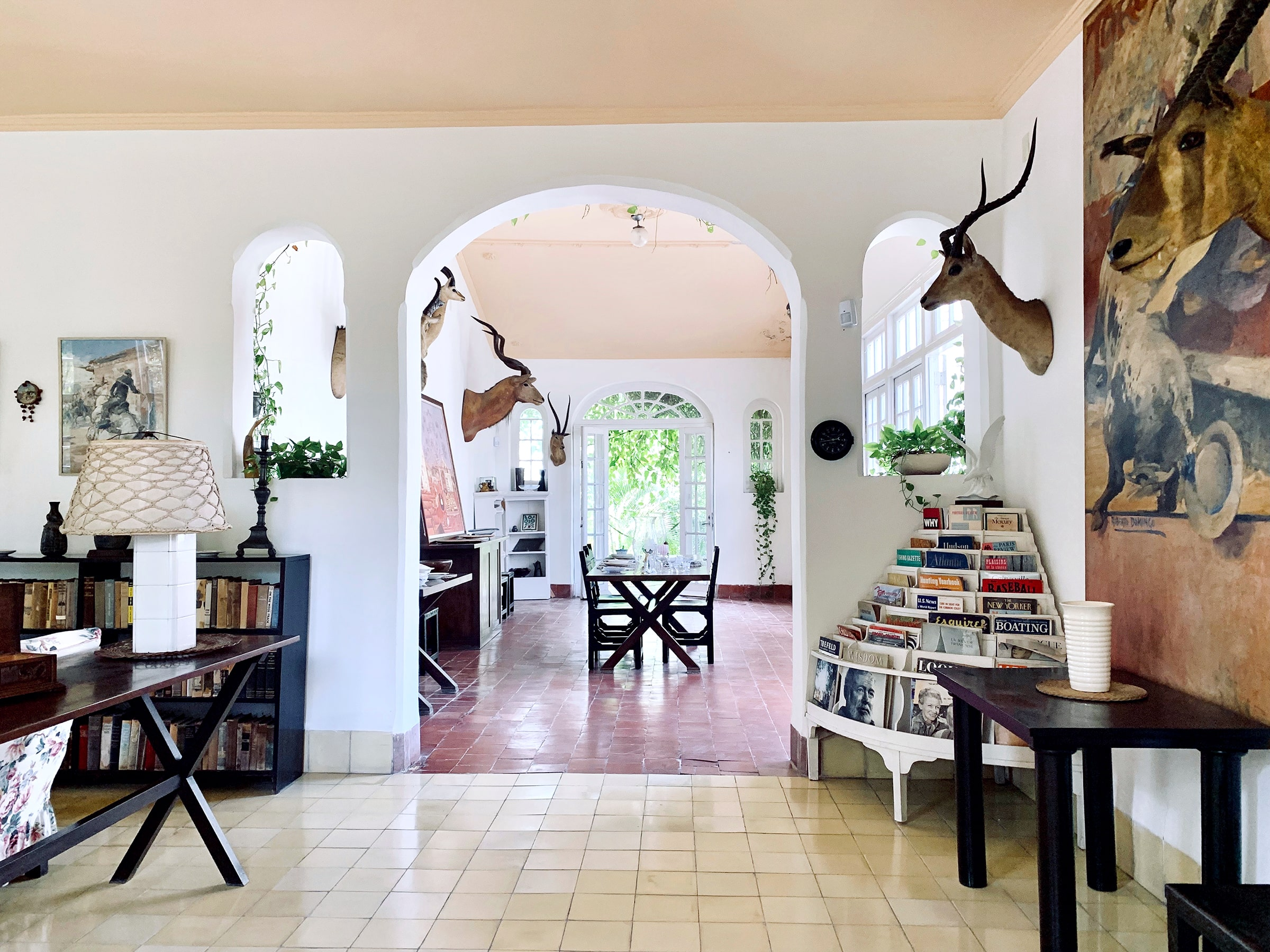Interior space leading to the dining room of Ernest Hemingway, located right outside of Havana, Cuba