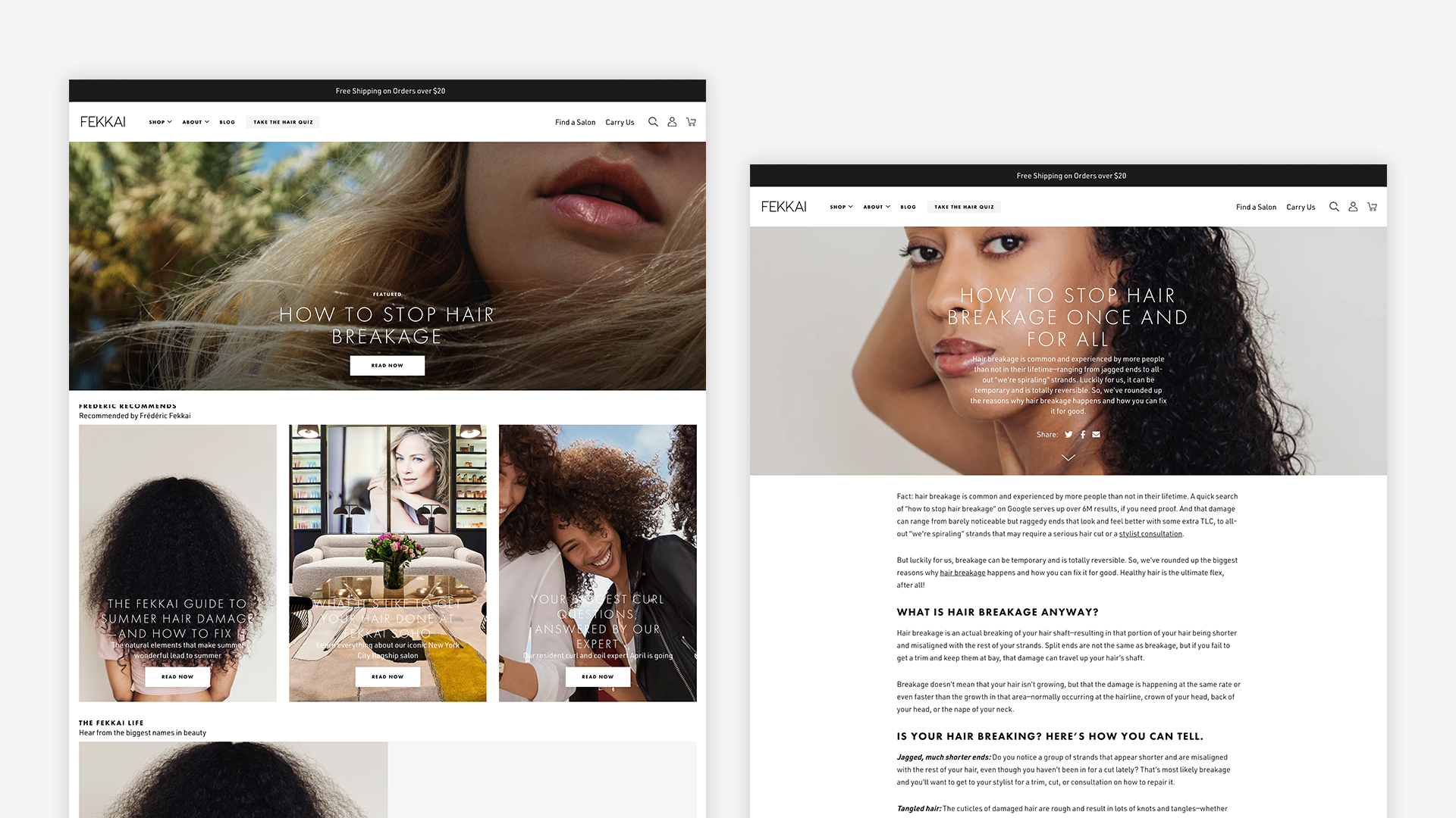 Blog Landing page and Flexible Article template on desktop side by side