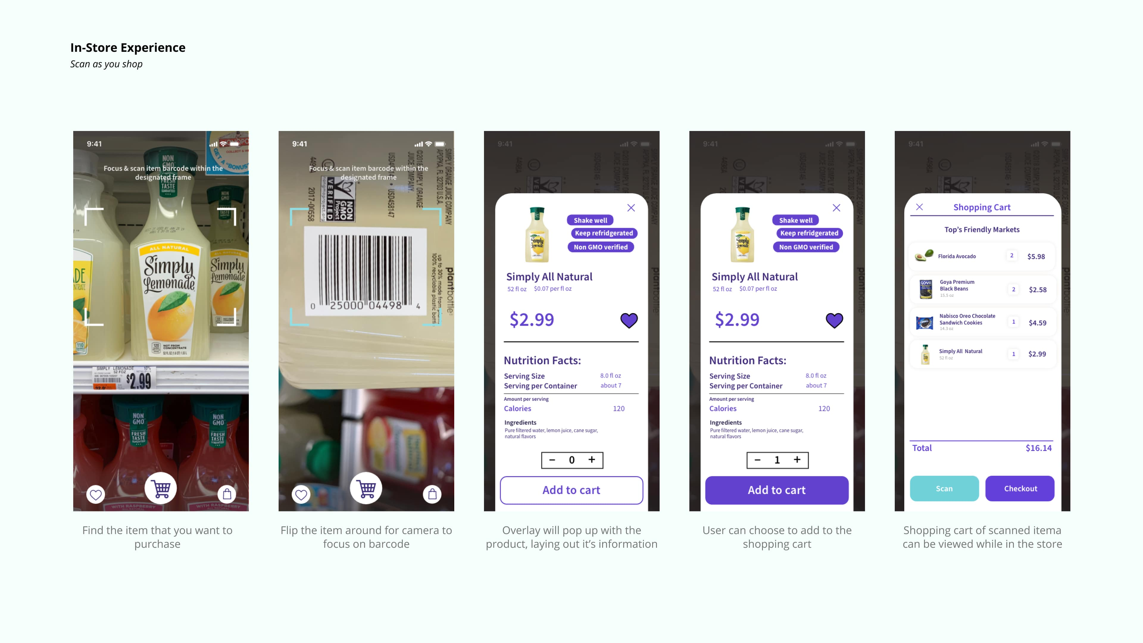 In-store experience showing the scanning of products when in the store