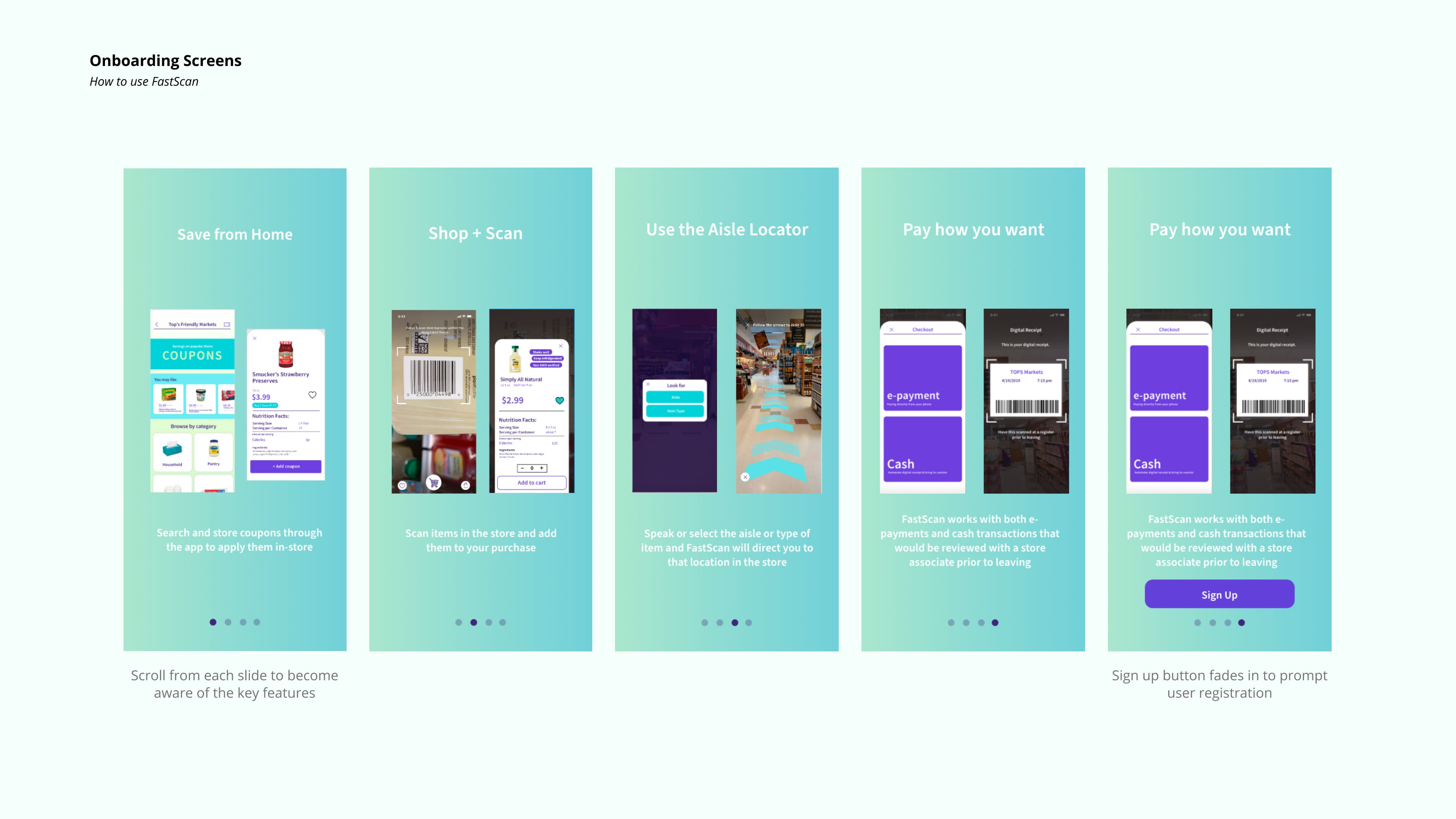 Onboarding screens with descriptions