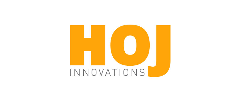 The Hoj Innovations logo. Hoj Innovations is a warehousing and logistics company that supplies material handling equipment.