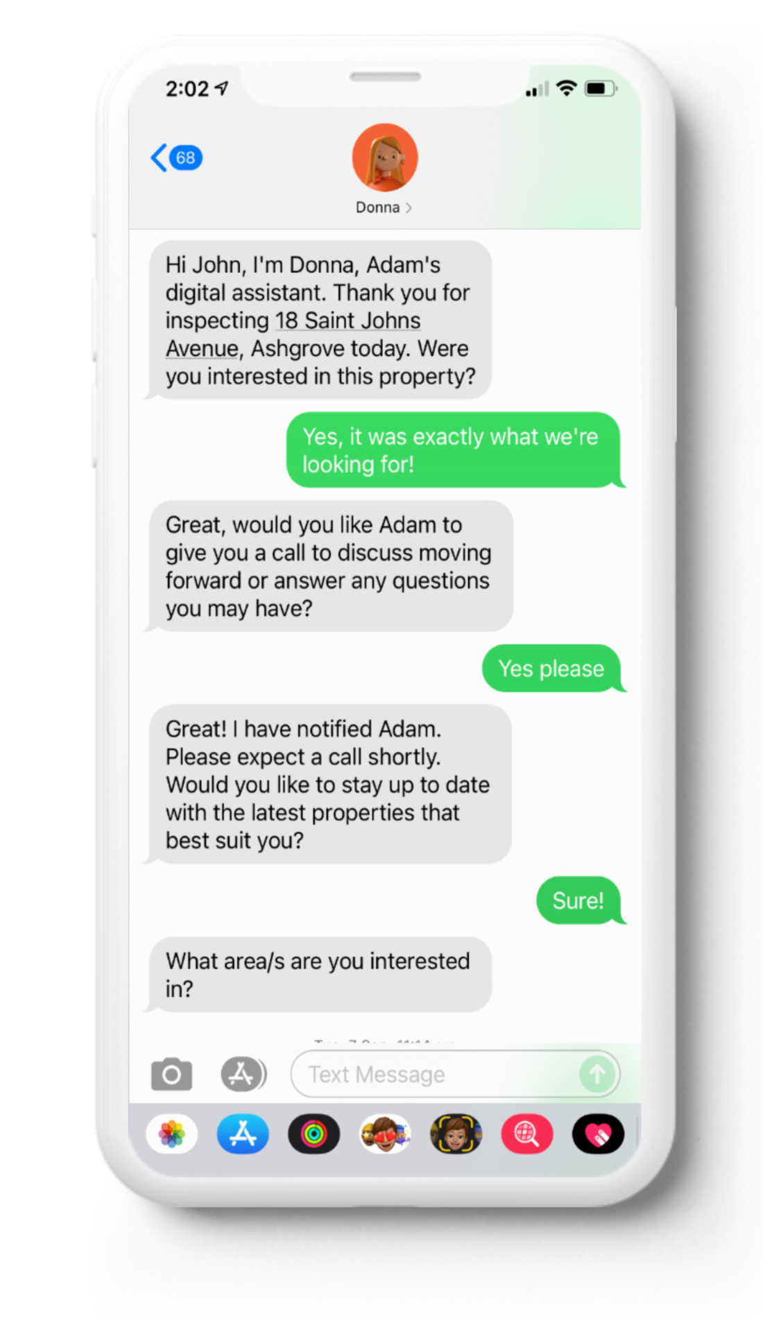 example of a SMS conversation with DONNA where a buyer has just attended and open home and is getting qualified.
