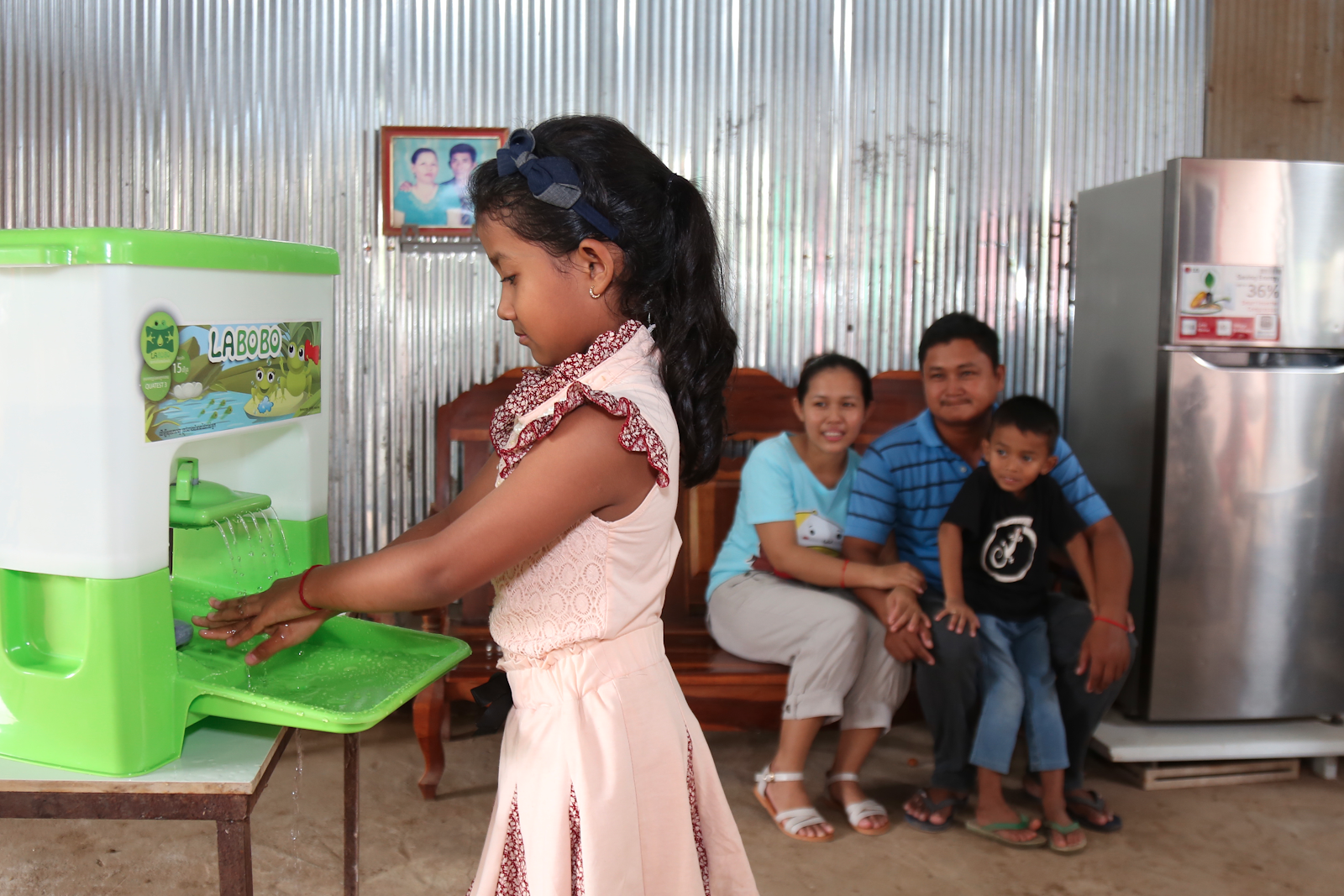 Portable sink promoting hygiene among Cambodia children