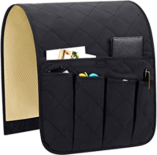 Teniux Armrest Organizer Non-Slip Remote Control Holder with 5 Pockets Couch Sofa Chair Armchair Caddy for Smart Phone, Book, Magazines, Ipad (Black)