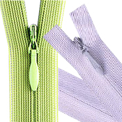 A green and purple invisible/conceal zipper needed for TaF.tc's Basic Drafting and Sewing class!