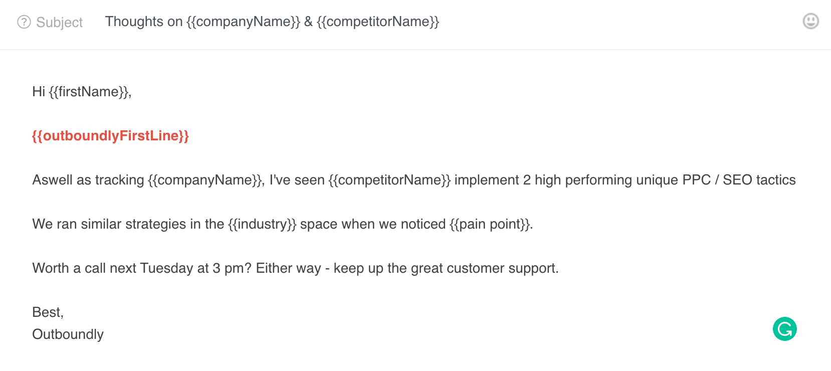 Screenshot of how to use Outboundly's icebreakers in your emails.