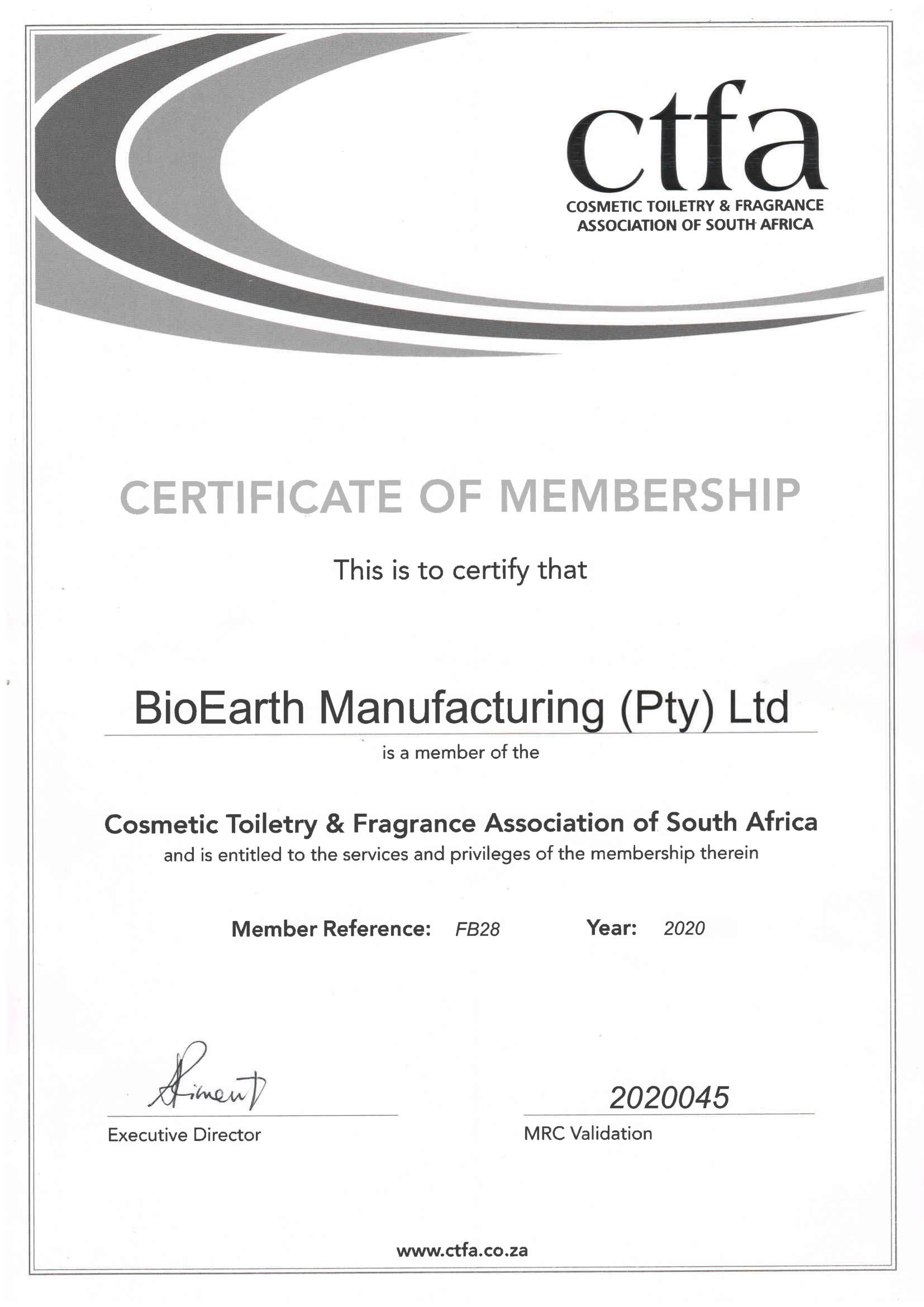 CTFA 2020 BioEarth Manufacturing Award