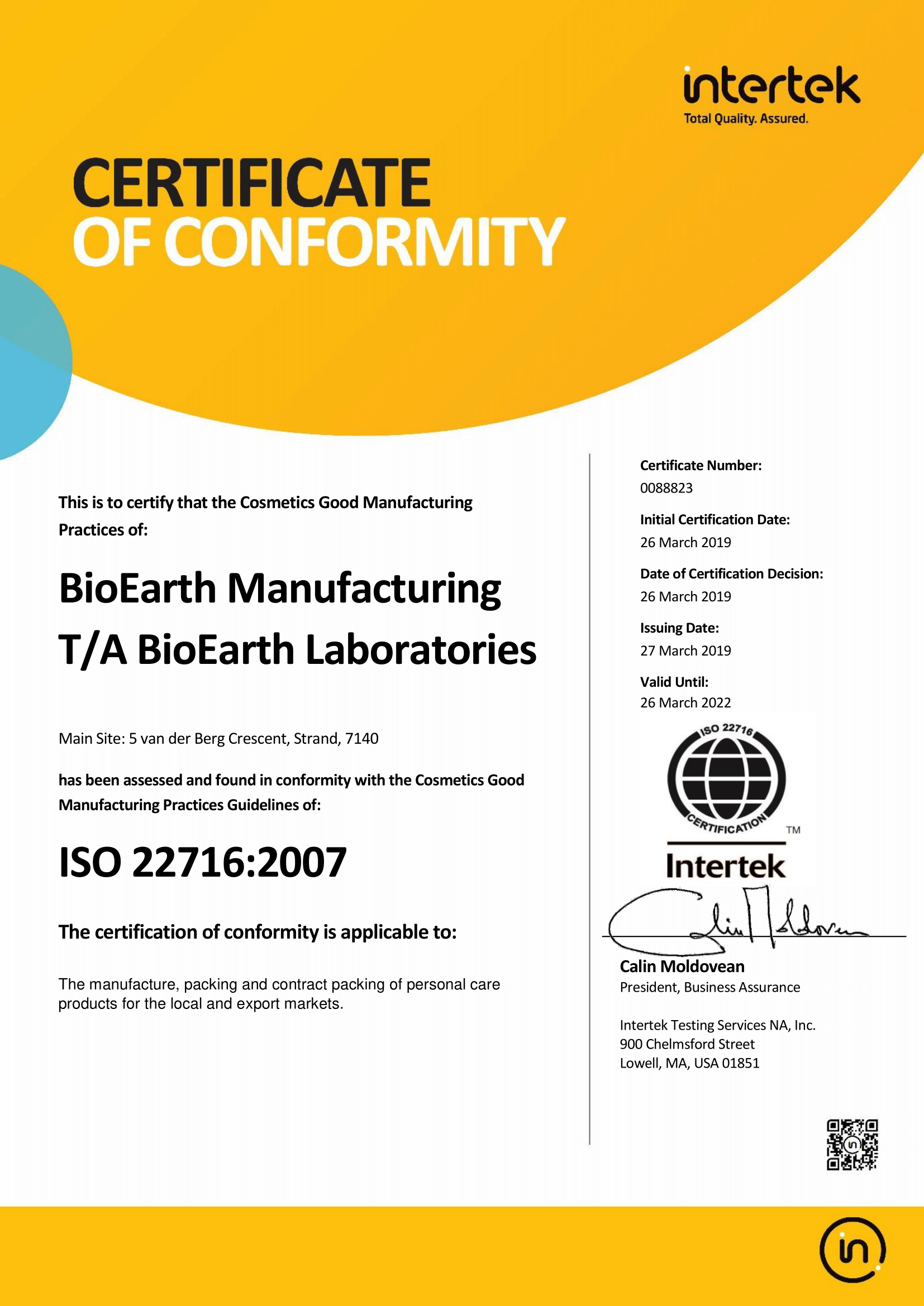 ISO22716 Bioearth Manufacturing Intertek Certificate