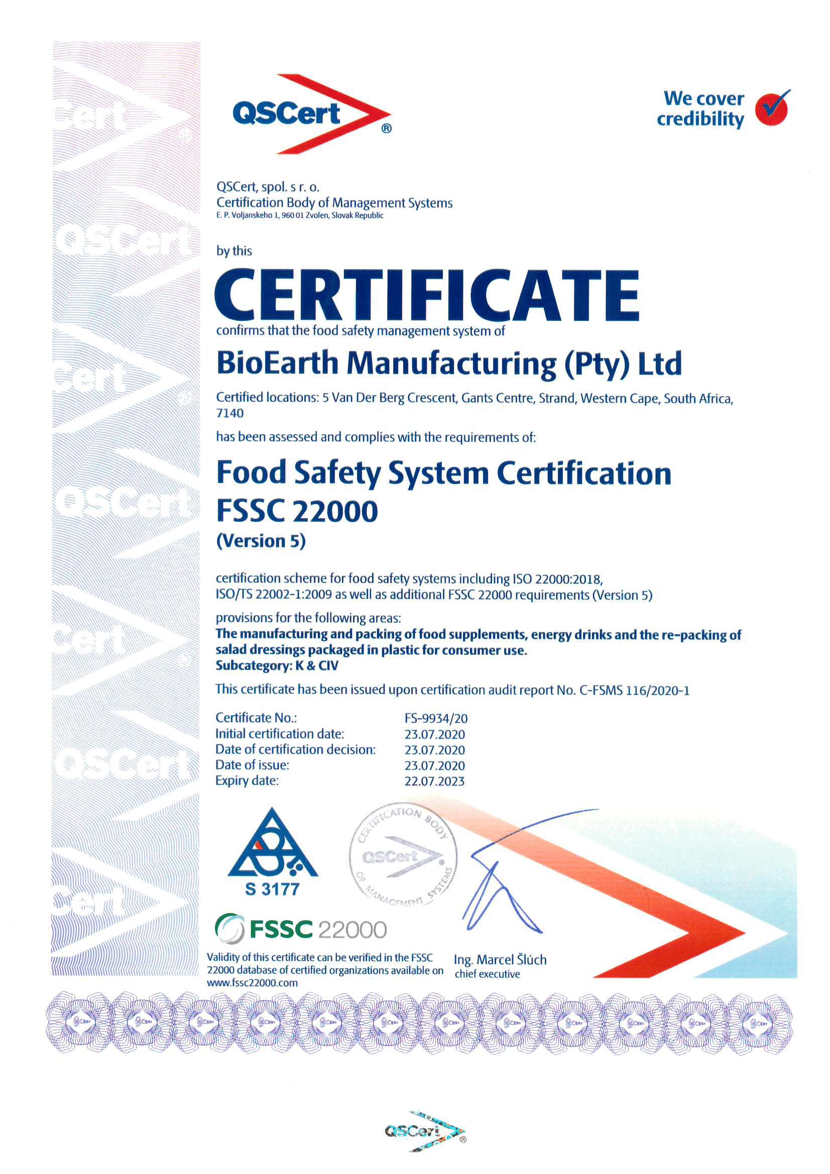 FSSC BioEarth Manufacturing Certificate