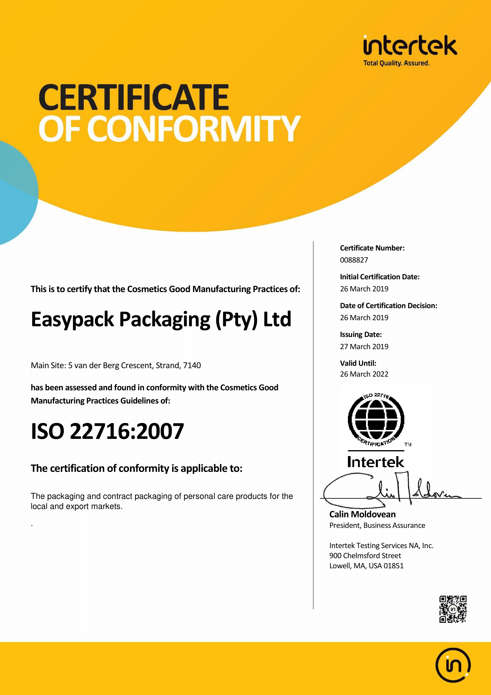 ISO22716 Easypack Packaging Intertek Certificate