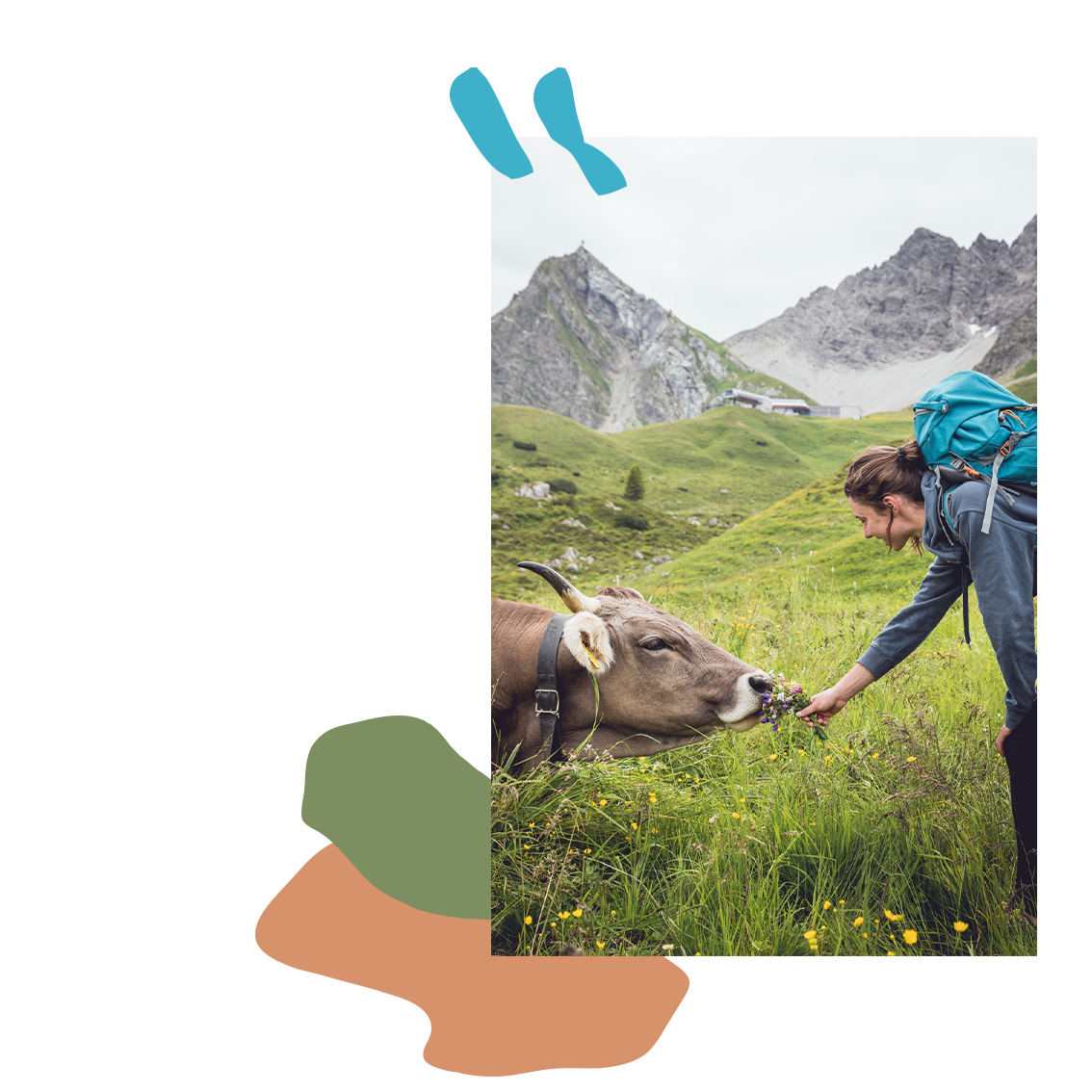 ©Miriam Mayer #she is outdoors – fee – girl feeding cow up in the mountains