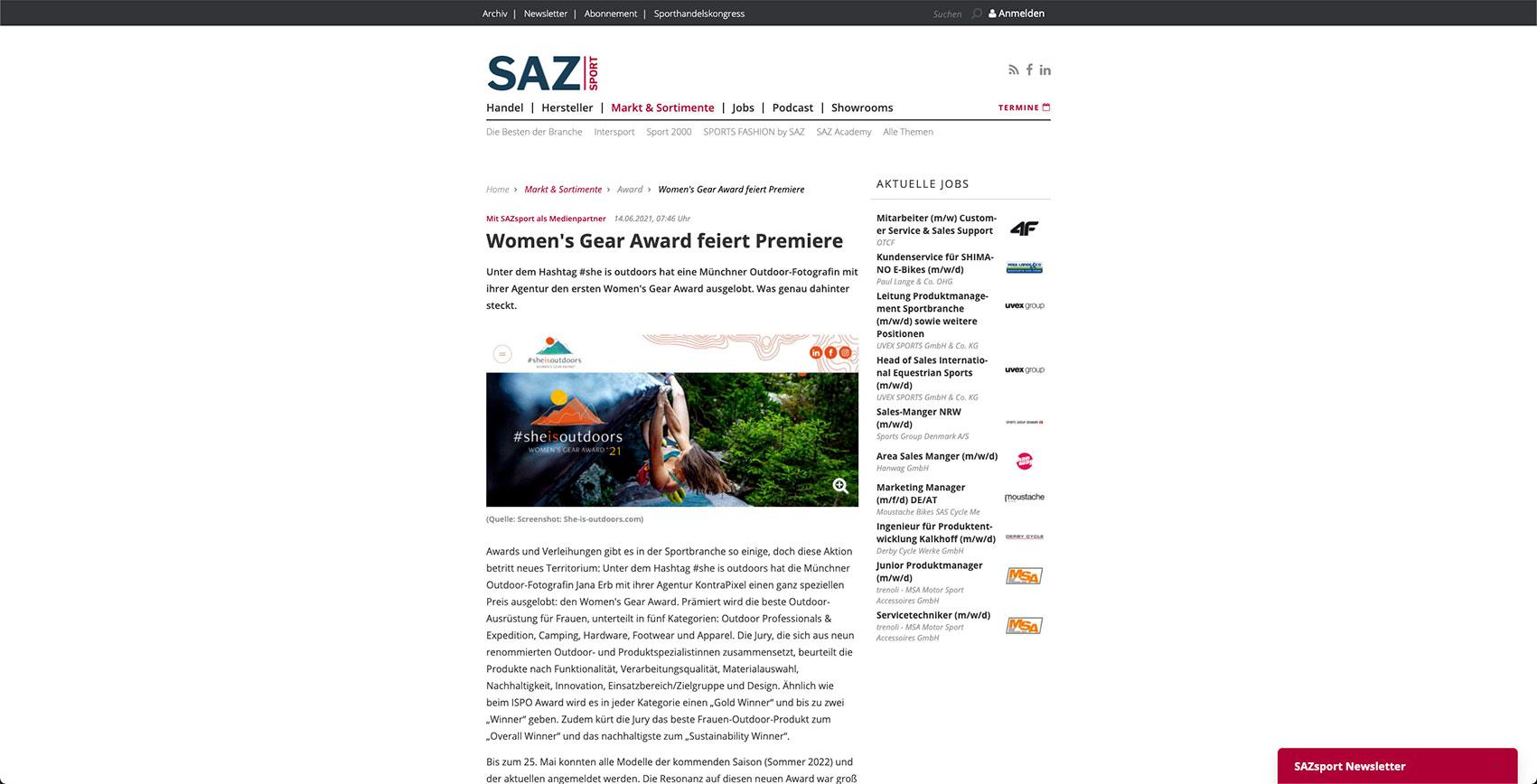 Screenshot Website SAZ