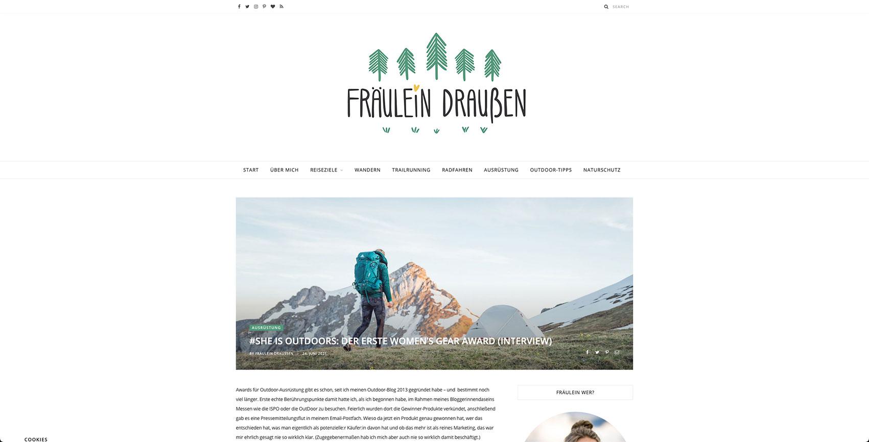 Screenshot Blog Fräulein Draußen