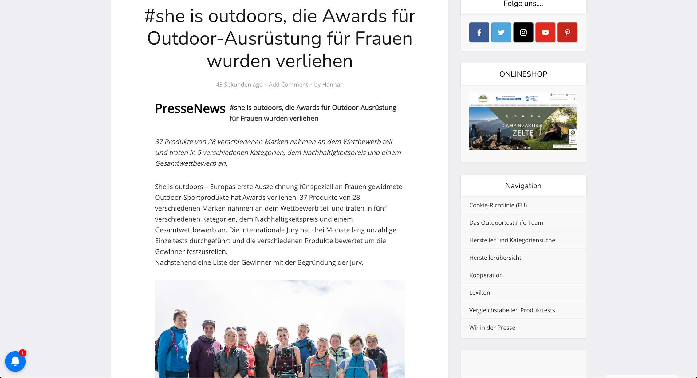 Tearsheet Outdoortest.info