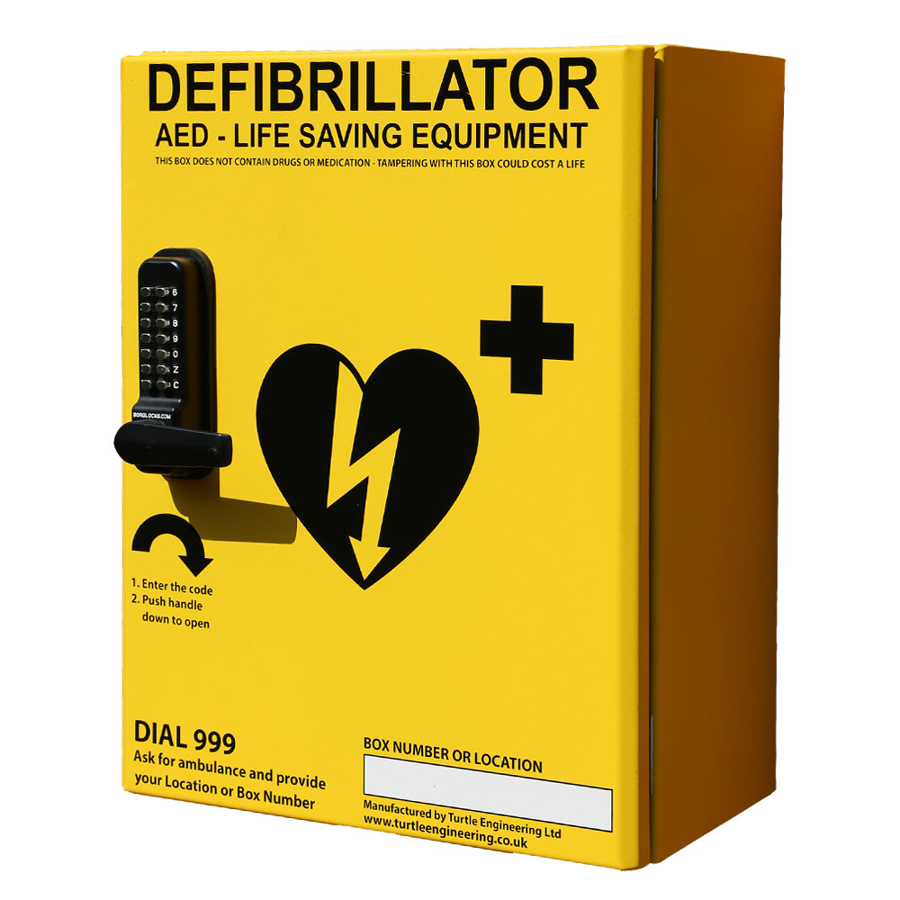 Turtle Engineering Outdoor, heated, locked secure defibrillator cabinet (yellow or green)