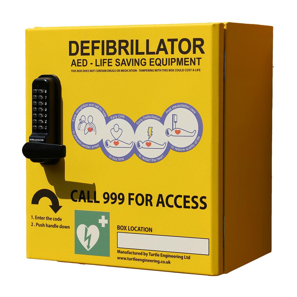 Turtle Engineering Outdoor, heated, locked Defibrillator Cabinet (yellow, green) - small form