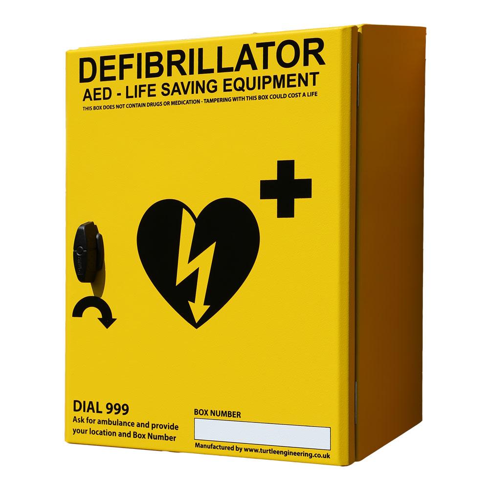 Turtle Engineering Outdoor, heated, unlocked Defibrillator Cabinet (Yellow or Green)