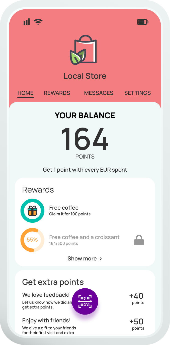 Your customised screen for your loyalty program with points with Yollty