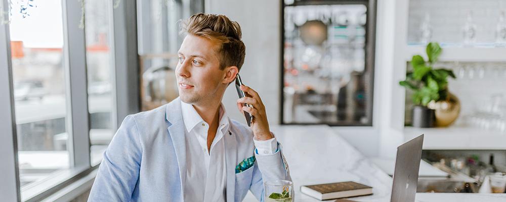 man talking at the phone