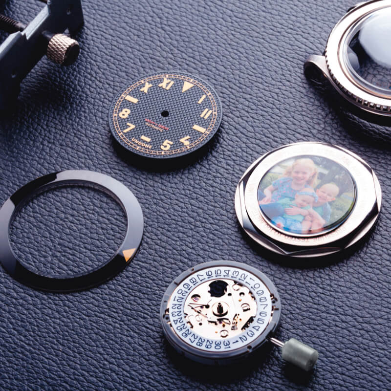 components of a customized watch