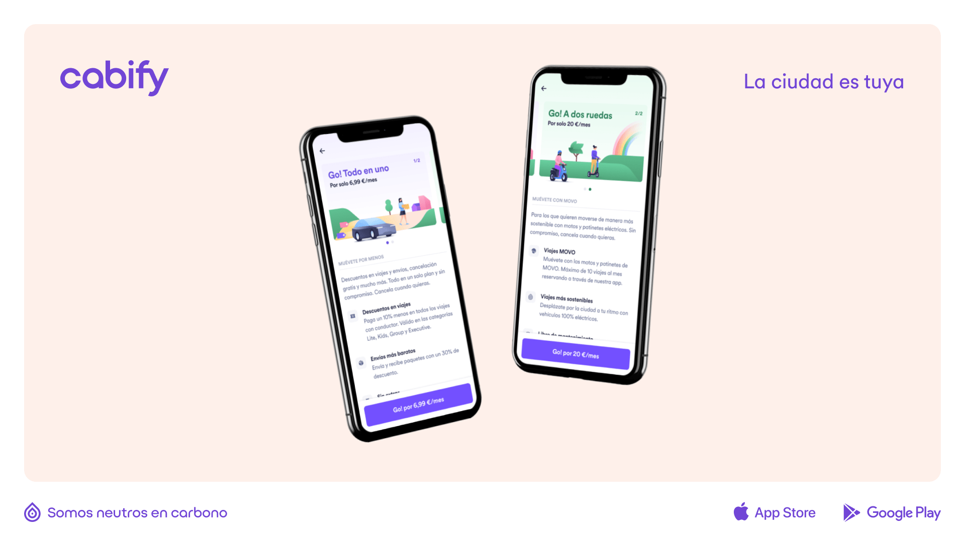 Una composición con dos móviles con la app de Cabify