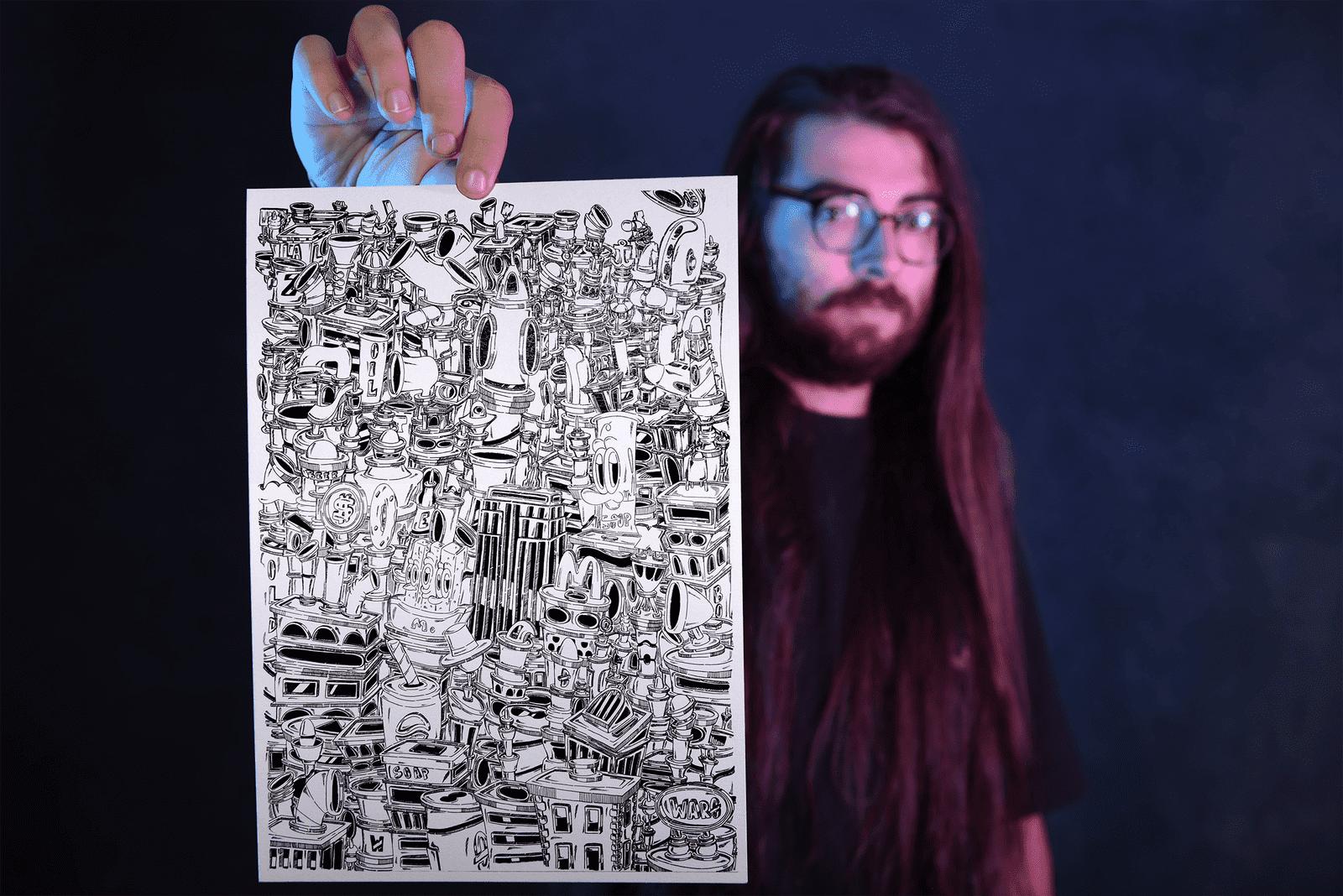 WARO - l'artista che si ispira alla Pop Art per disegnare il chaos in bianco e nero