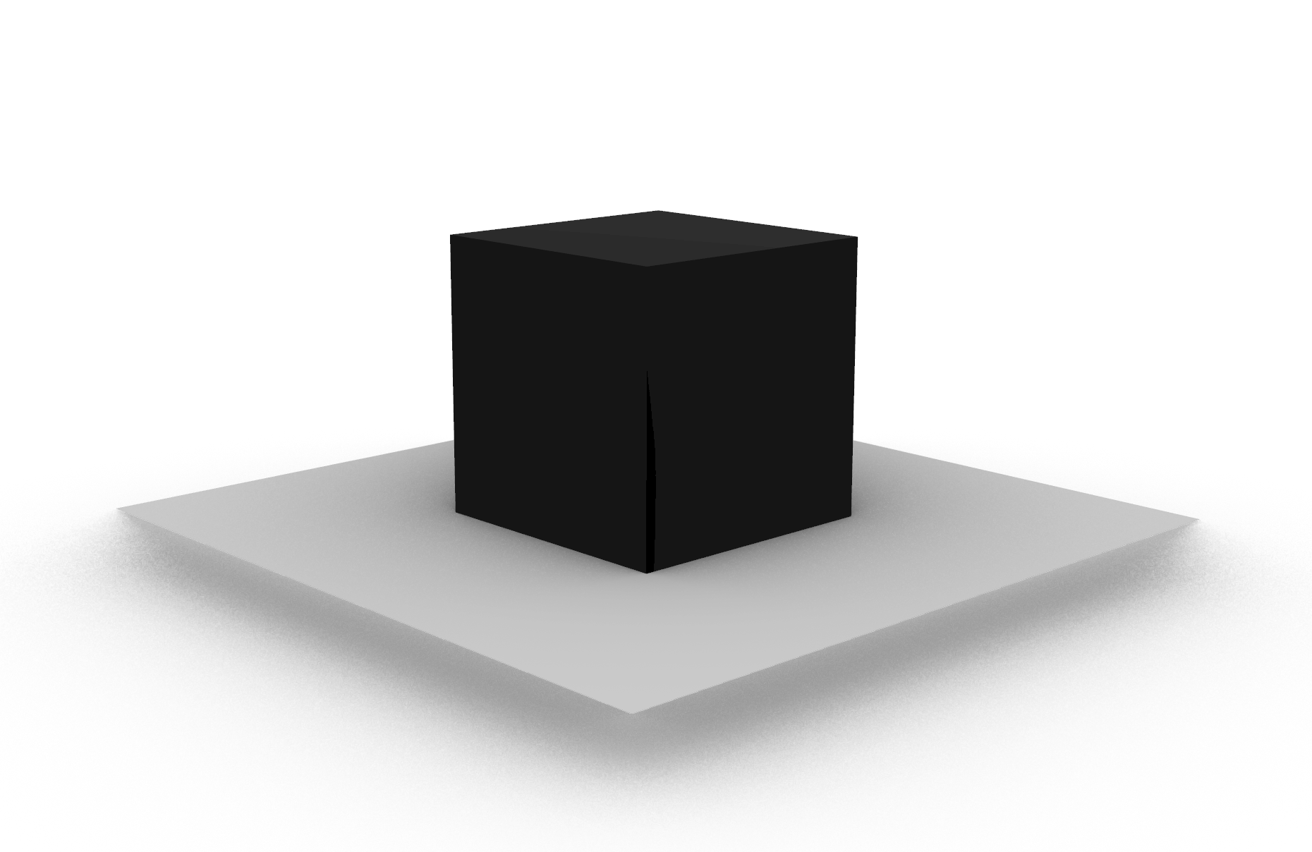 A visualisation for The Membranous Box with a black cube above a grey ground