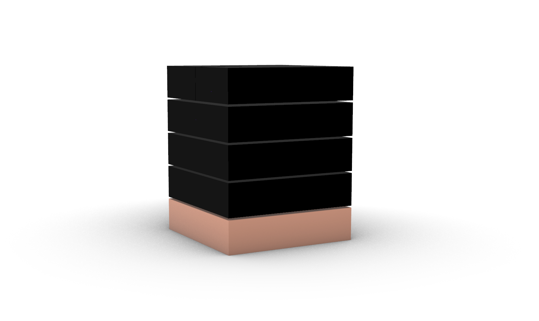 A visualisation for The Membranous Box with four black cuboids and one pink cuboid stacking together