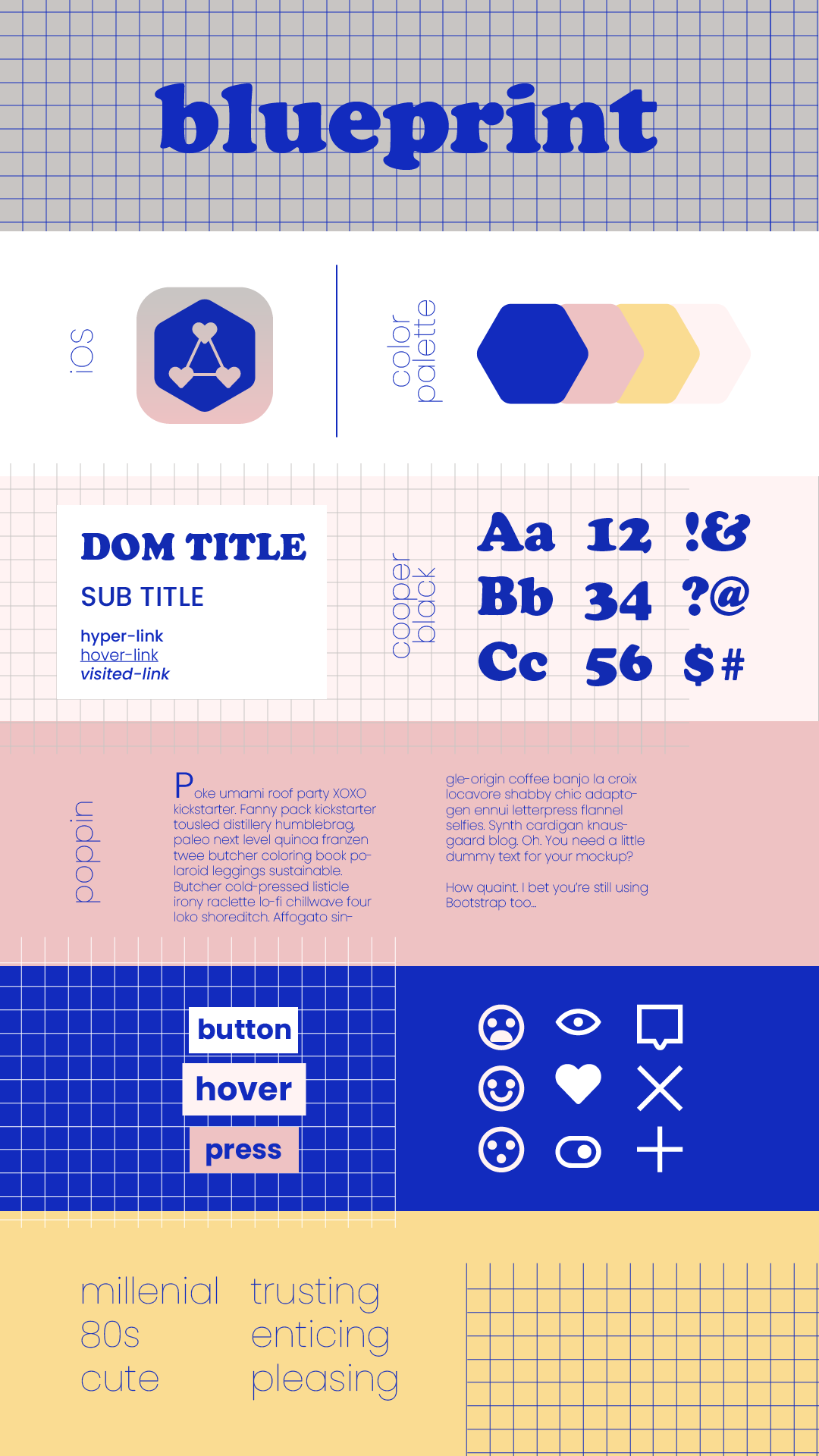 Style tile for a social media/dating app and website called Blueprint geared towards millennials.