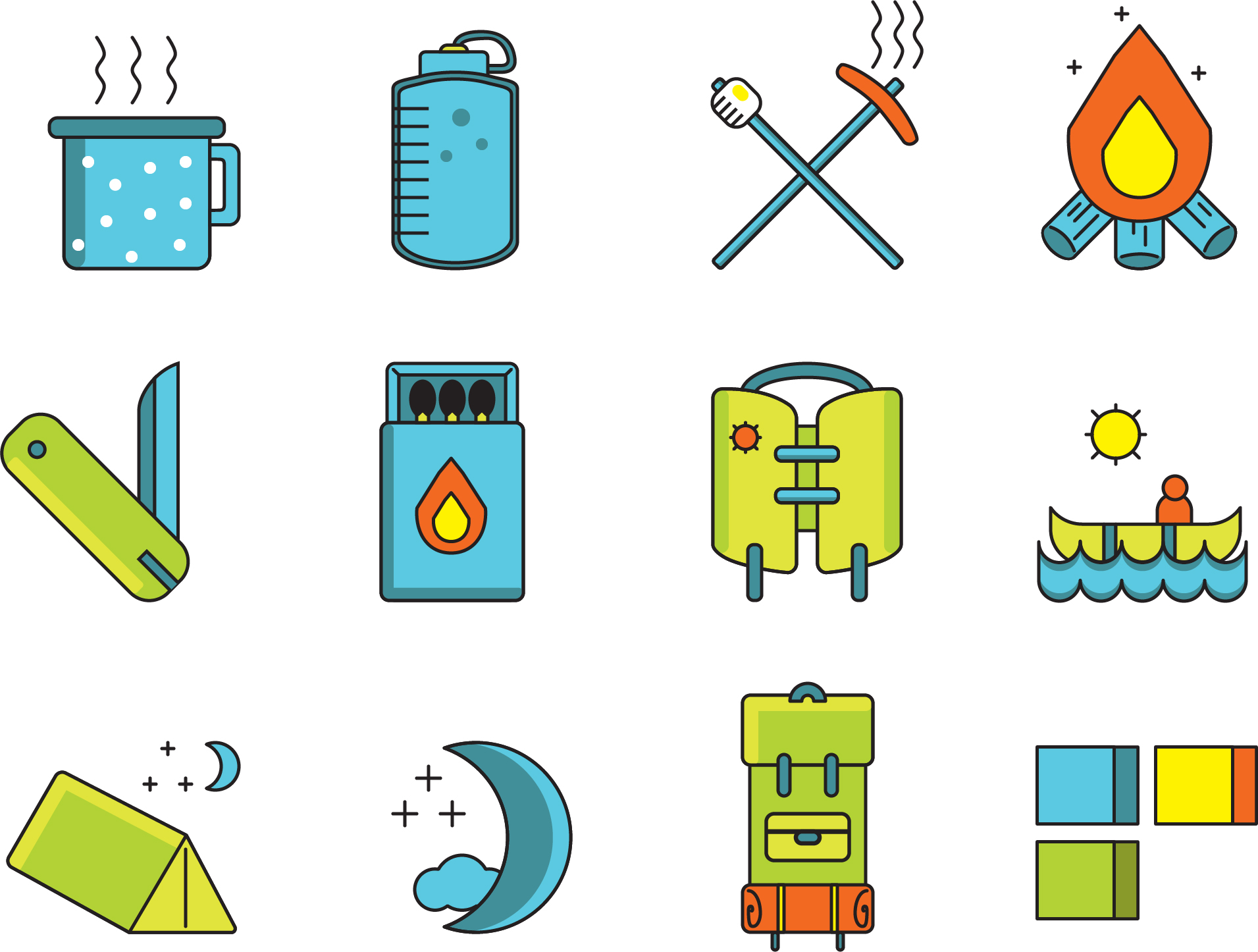 Small set of camping icons.