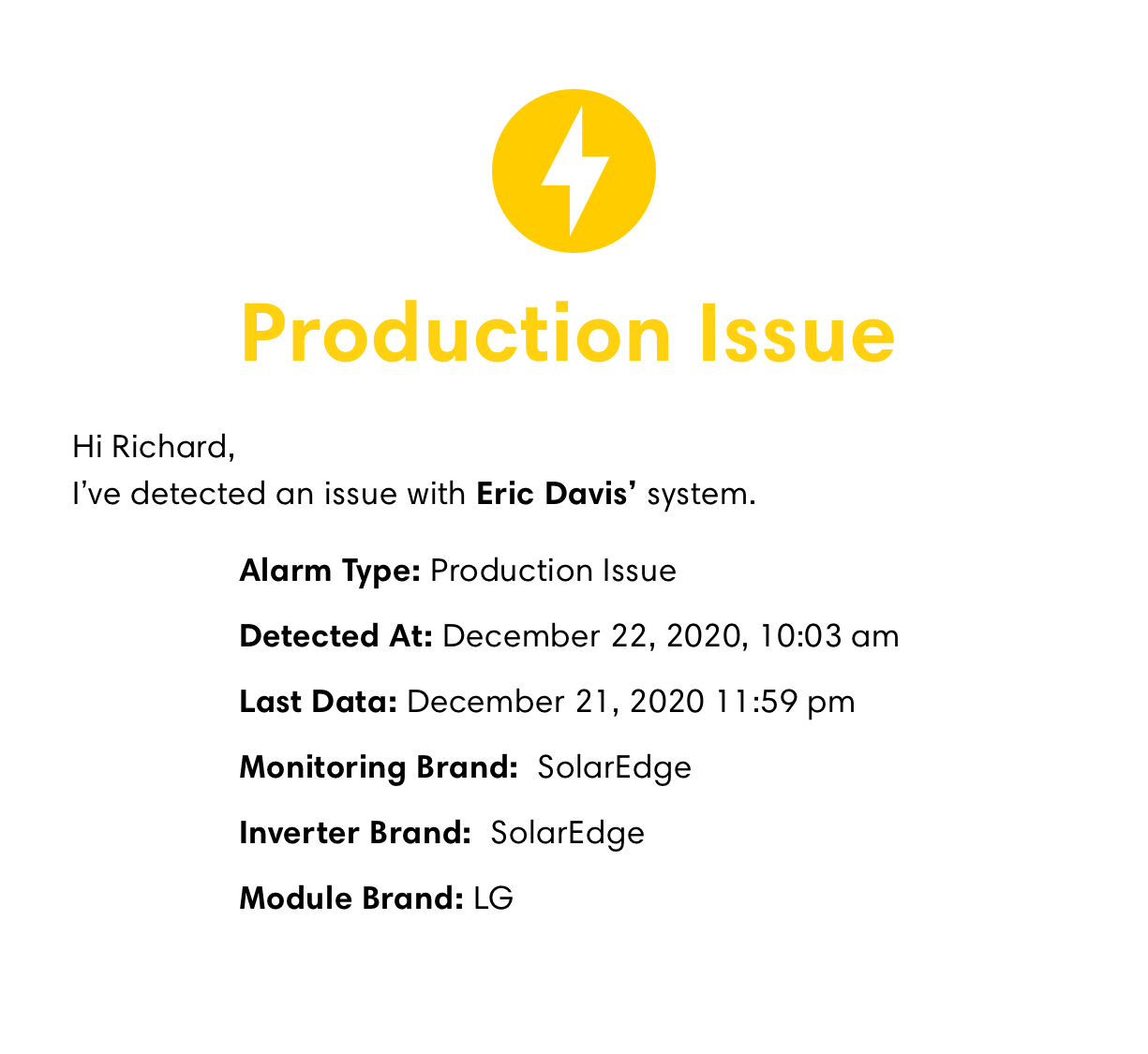 Production alert by Bodhi