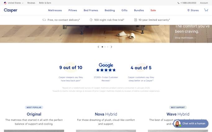 Casper homepage social proof