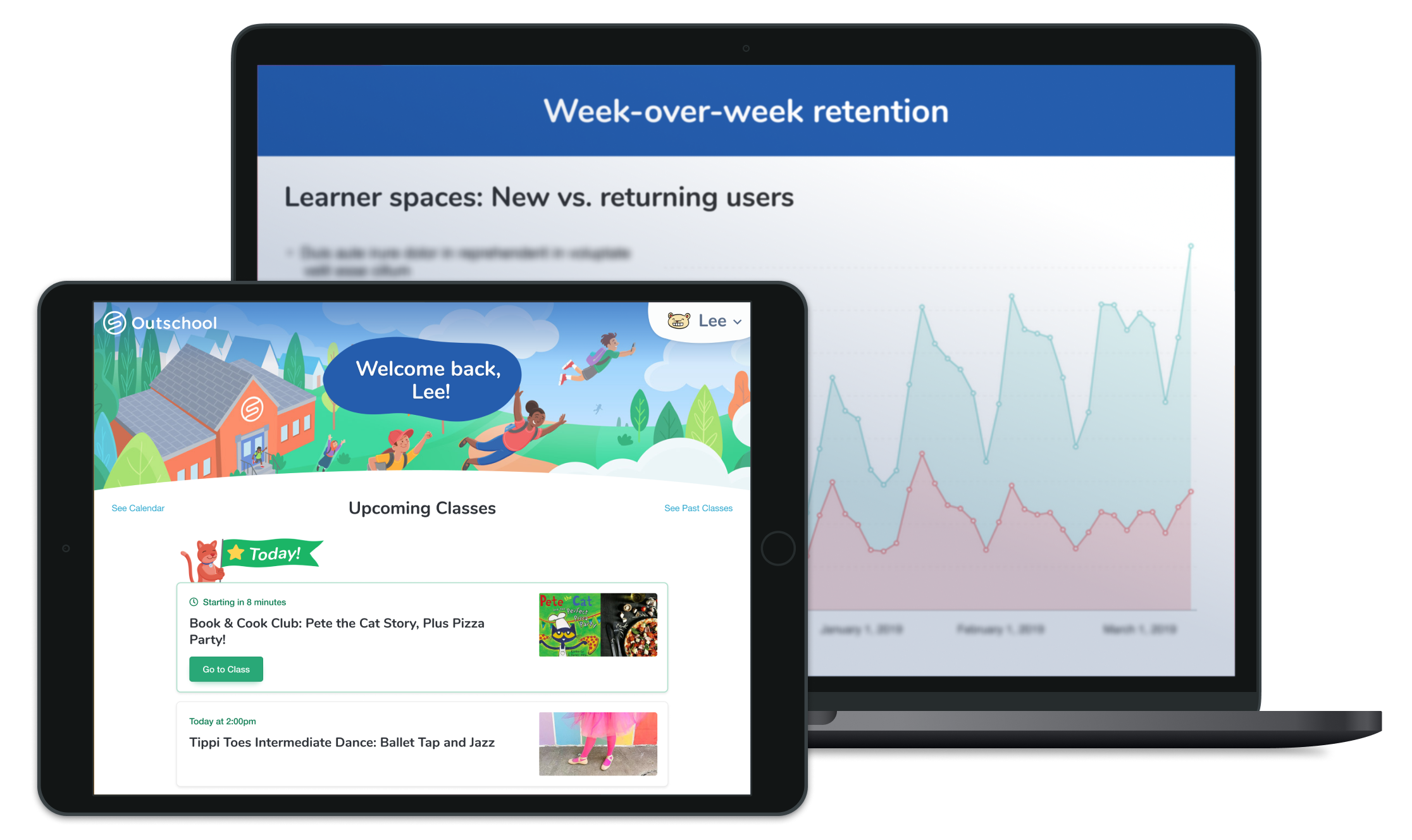 """An ipad featuring Outschool's """"learner space"""" for ficticious user """"Lee"""" rests in front of a laptop that shows a graph the week over week retention of Learner space users."""