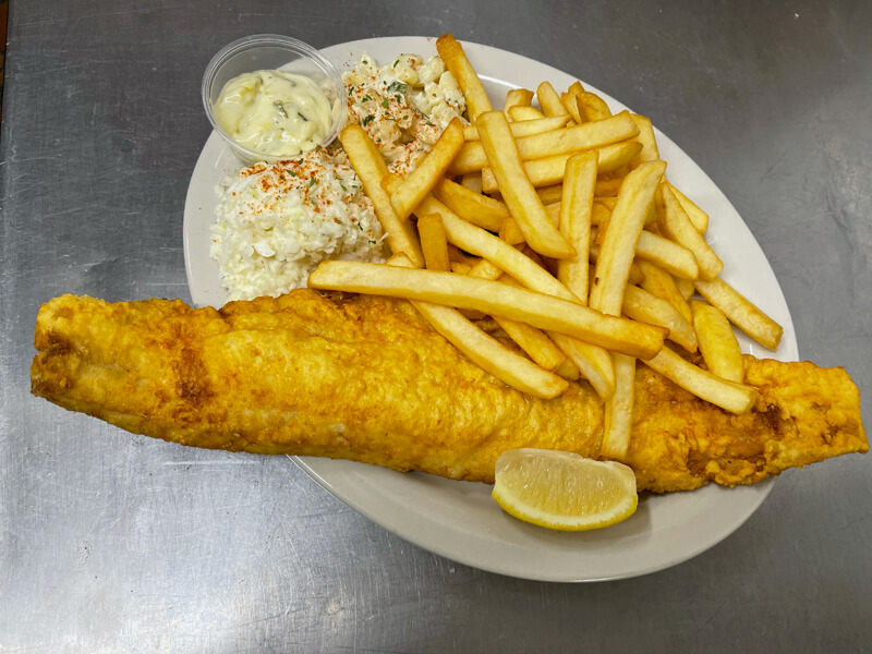 Fish fry with coleslaw.