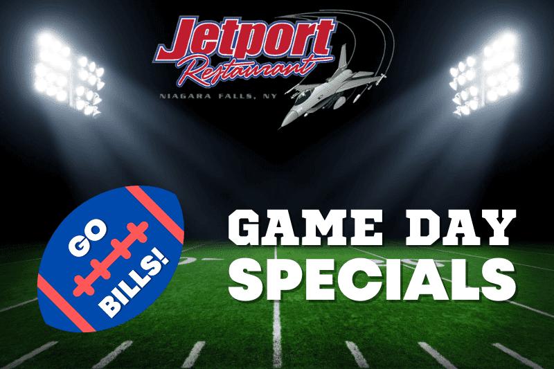 JetPort Restaurant Game Day Specials graphic.