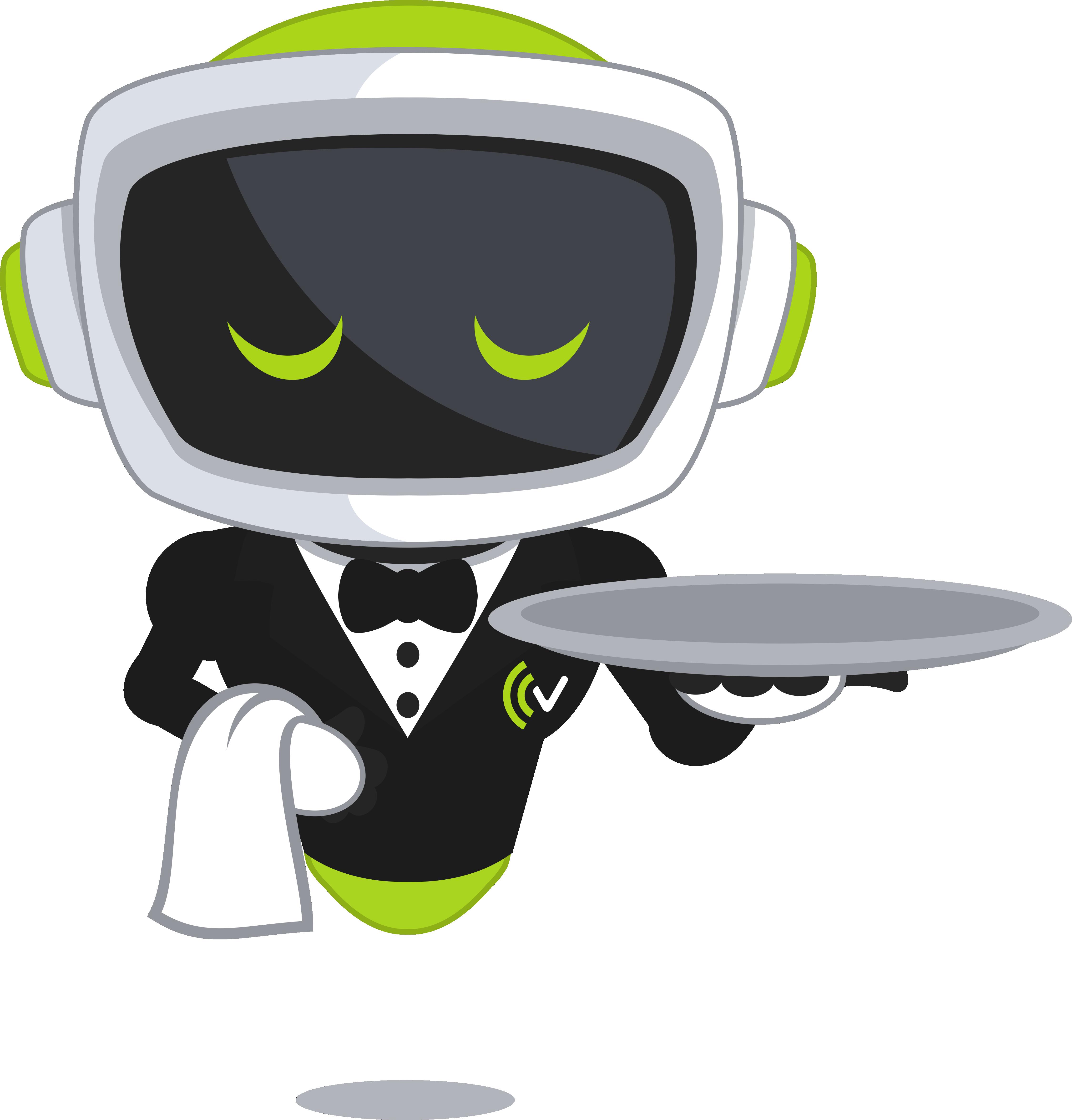 VITAS Maskottchen als Gastronomie Bedienung für die Demo des Telefonassistenten