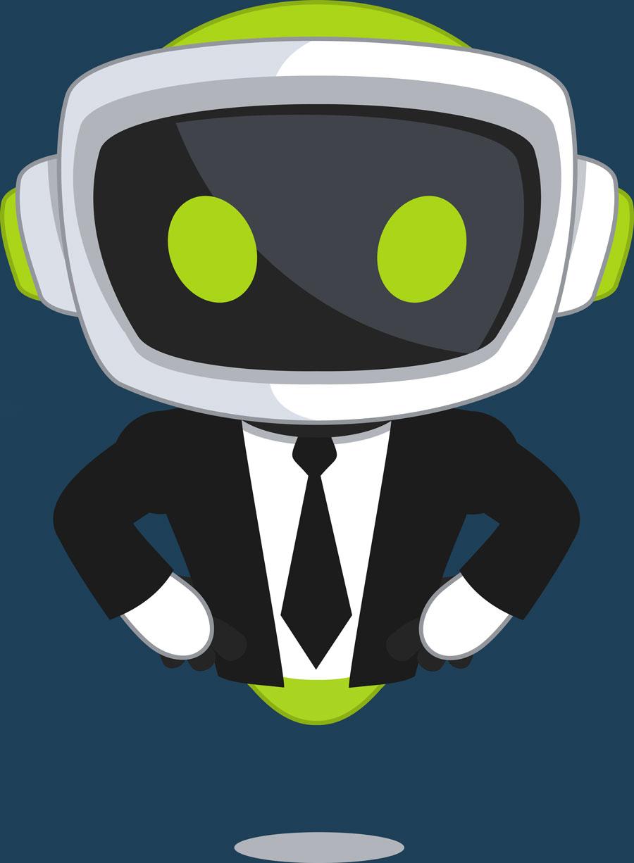 VITAS Maskottchen im Business Outfit um den Header Bereich unserer Branchen einzuleiten