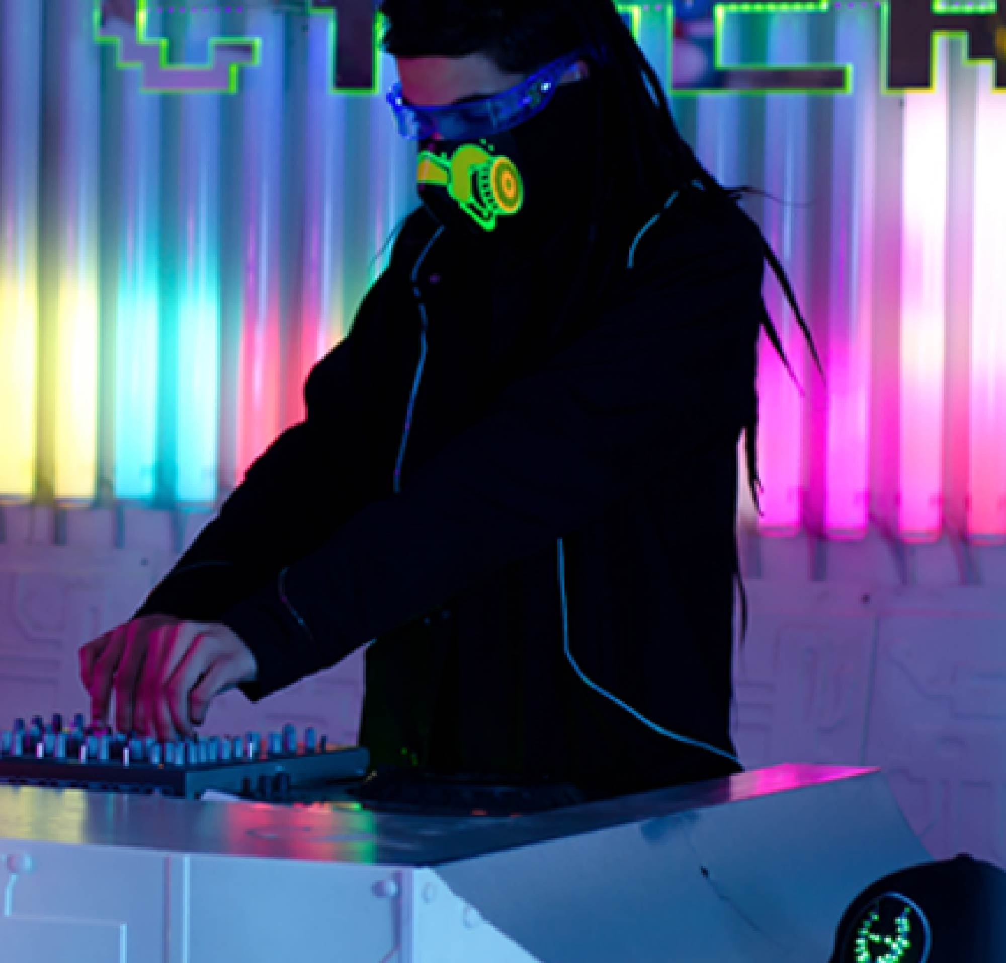 Music video production in London. Electro steampunk DJ spins some tunes.