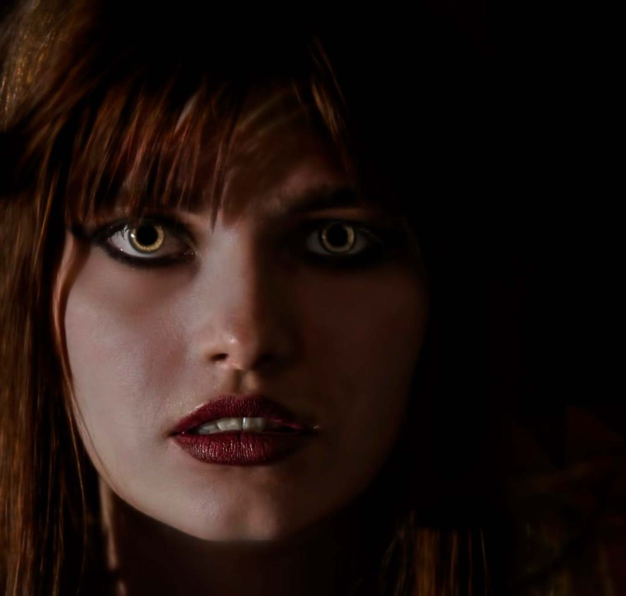 Close up image of gothic girl. Professional fantasy film makeup.