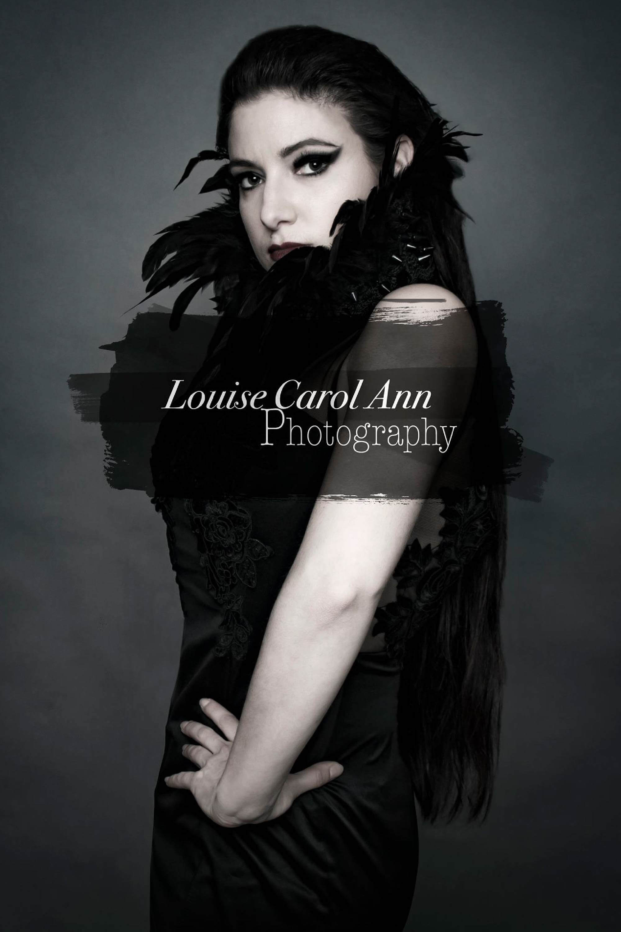 Woman in black feather dress