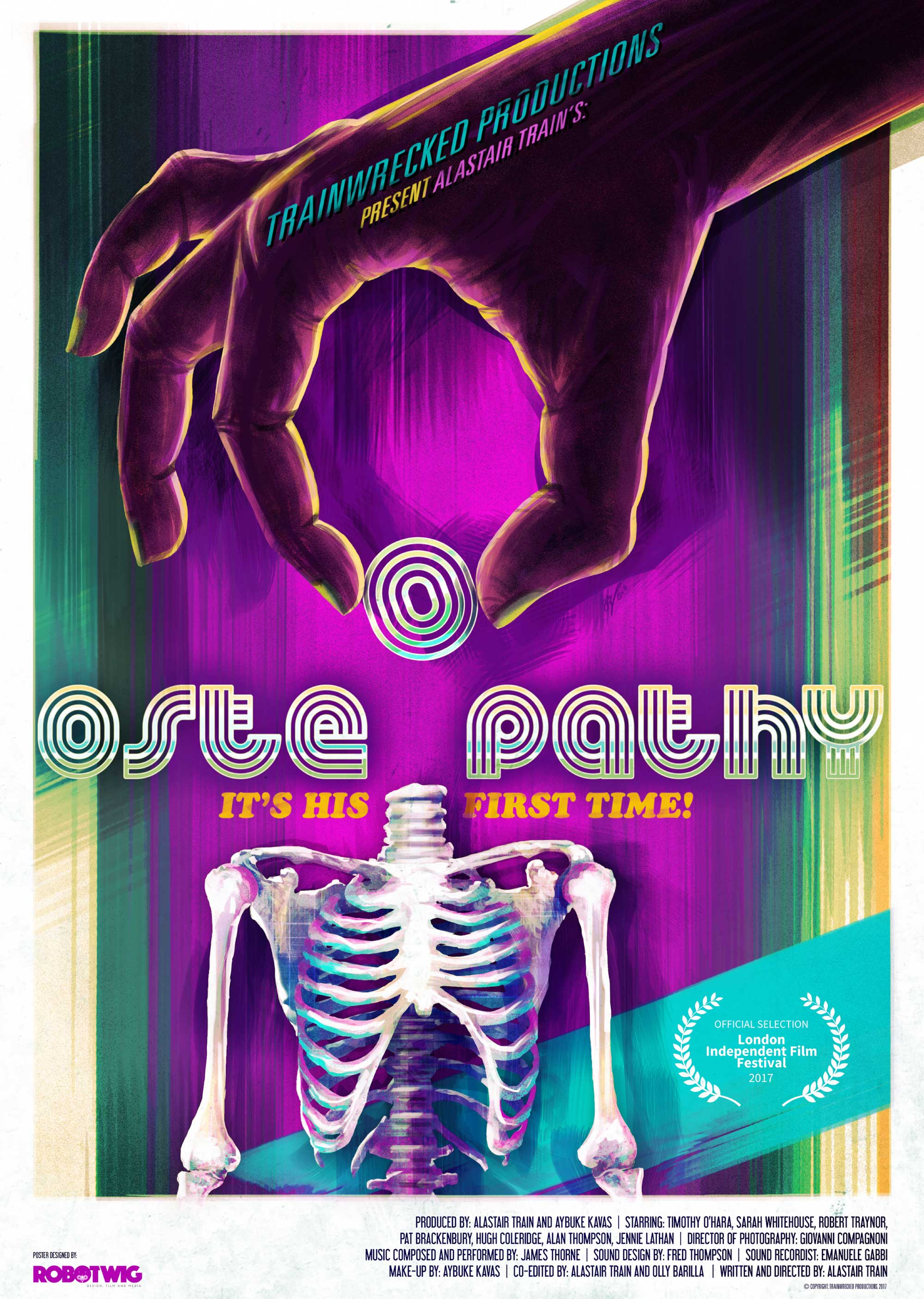 A hand plucks the head off of a skeleton — the head doubles as the middle 'o' in Osteopathy. Poster for the film Osteopathy, produced by Lunar Dragon Productions.