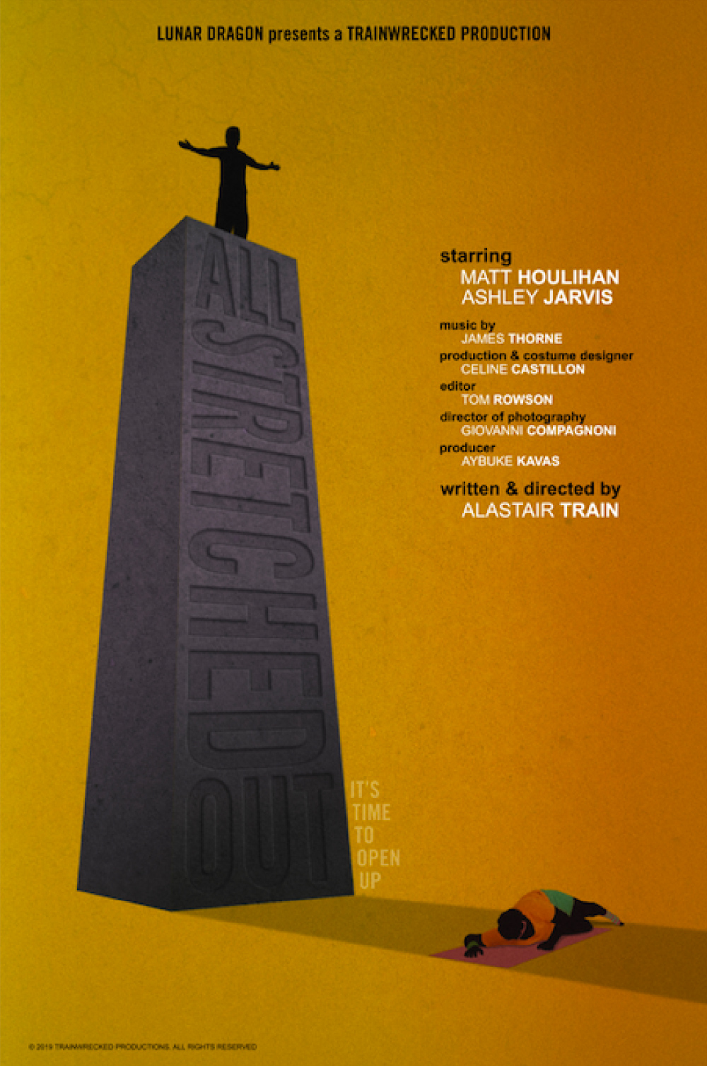 A man stands on top a huge stone plinth, towering over another man who is lying down in it's shadow. The poster for the film All Stretched Out, produced by Lunar Dragon Productions.