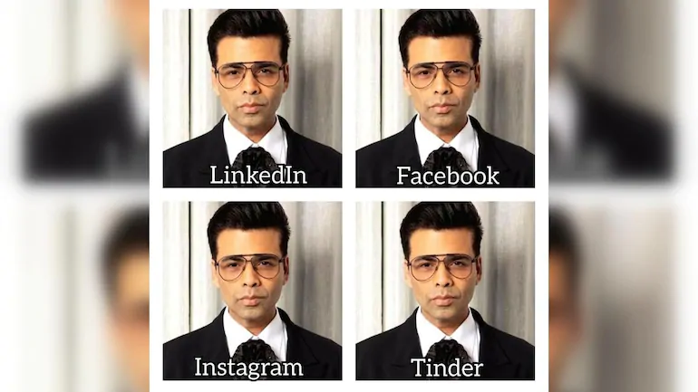 Karan Johar taking part in the LInkedIn, Facebook, Instagram, Tinder Profile Photo trend.