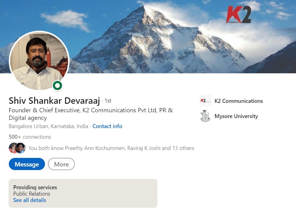 Shiv Shankar Devaraaj, Founder of K2 Communications